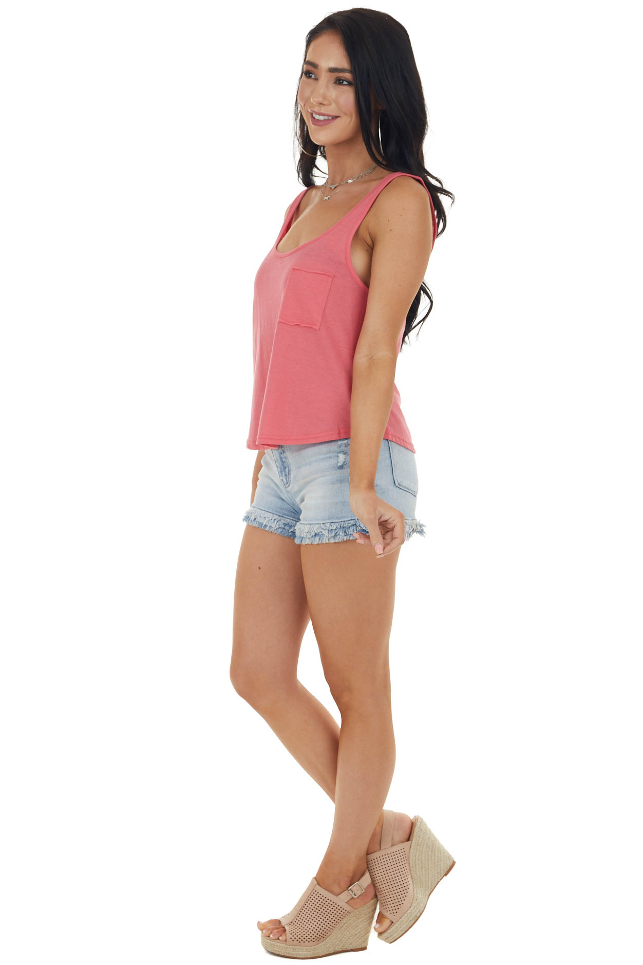 Heathered Watermelon Lightweight Knit Tank Top with Pocket