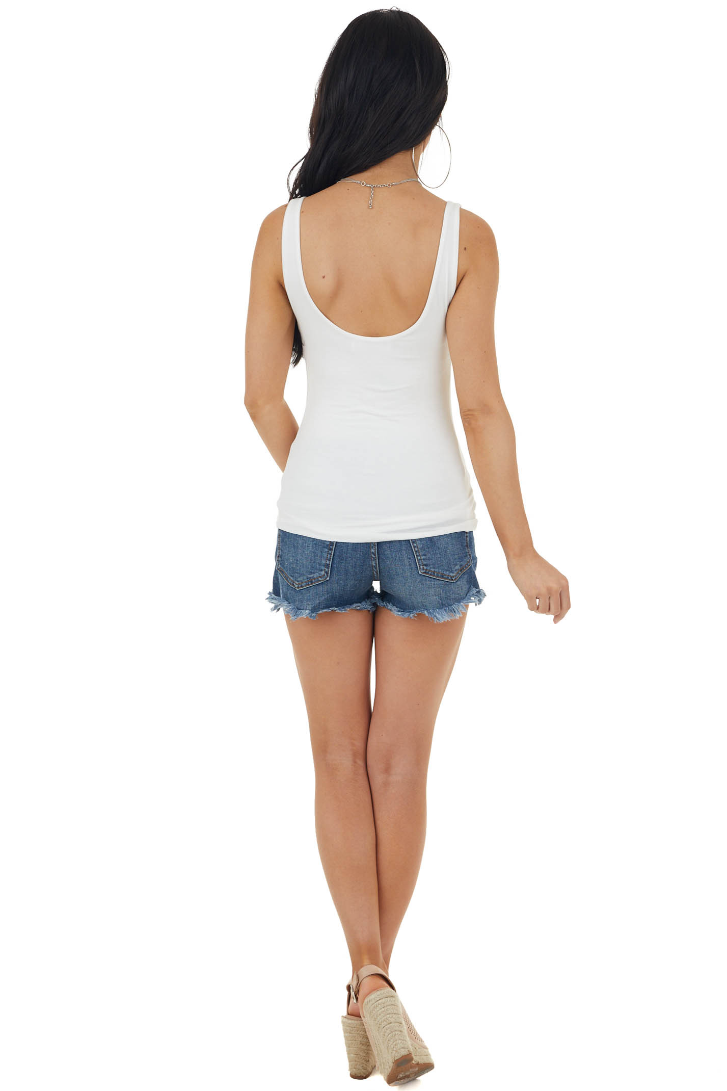 Off White Lightweight Sleeveless Stretchy Knit Tank Top