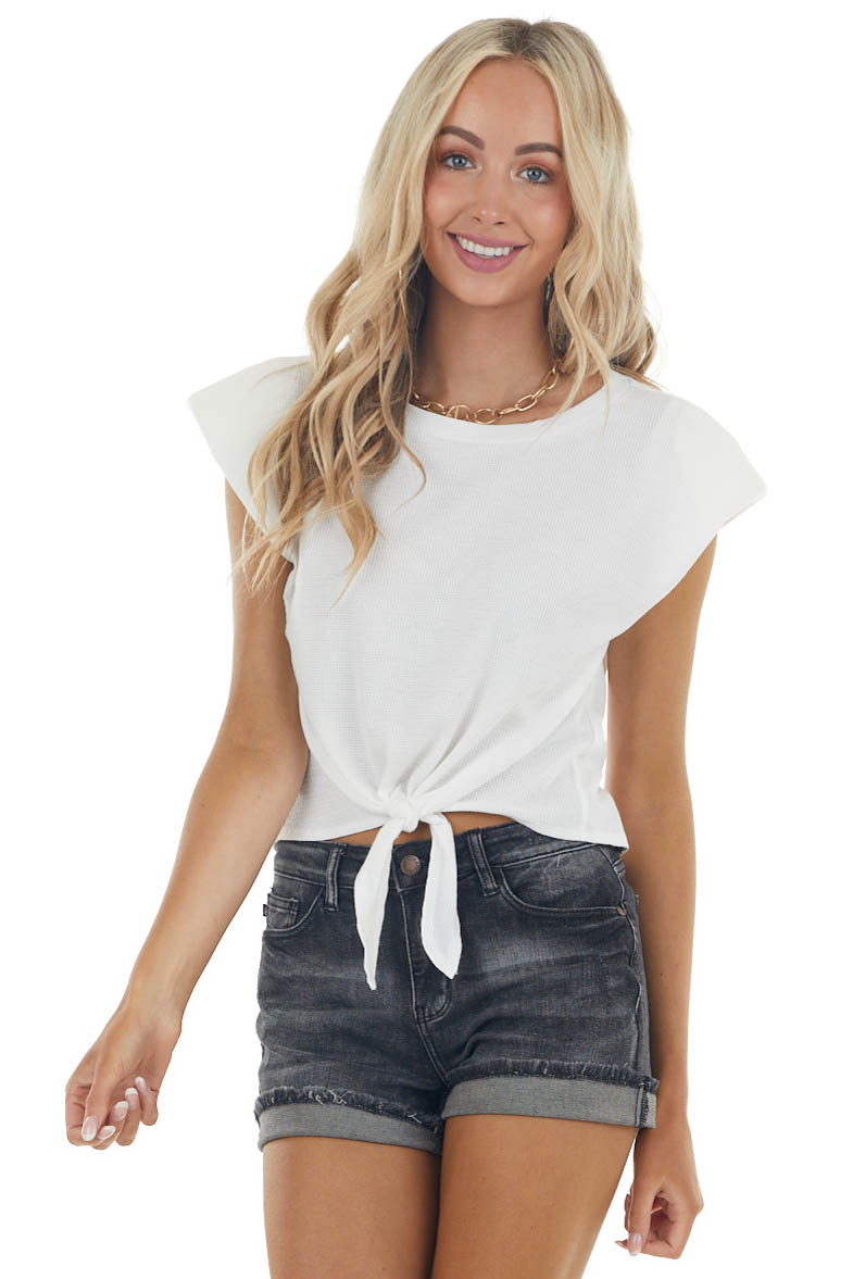 Ivory Front Tie Waffle Knit Top with Shoulder Pads