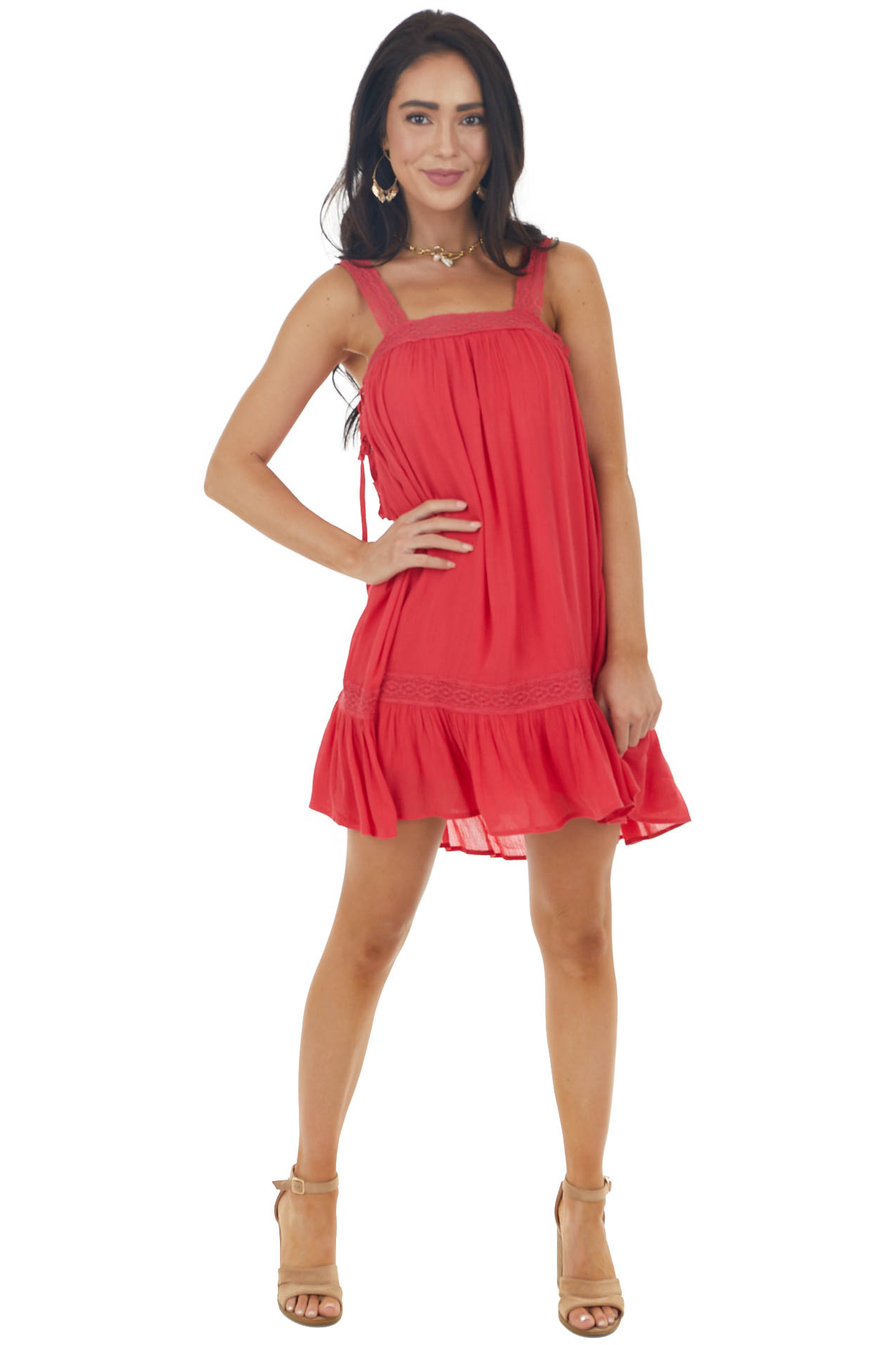 Crimson Red Sleeveless Mini Swing Dress with Lace Detail