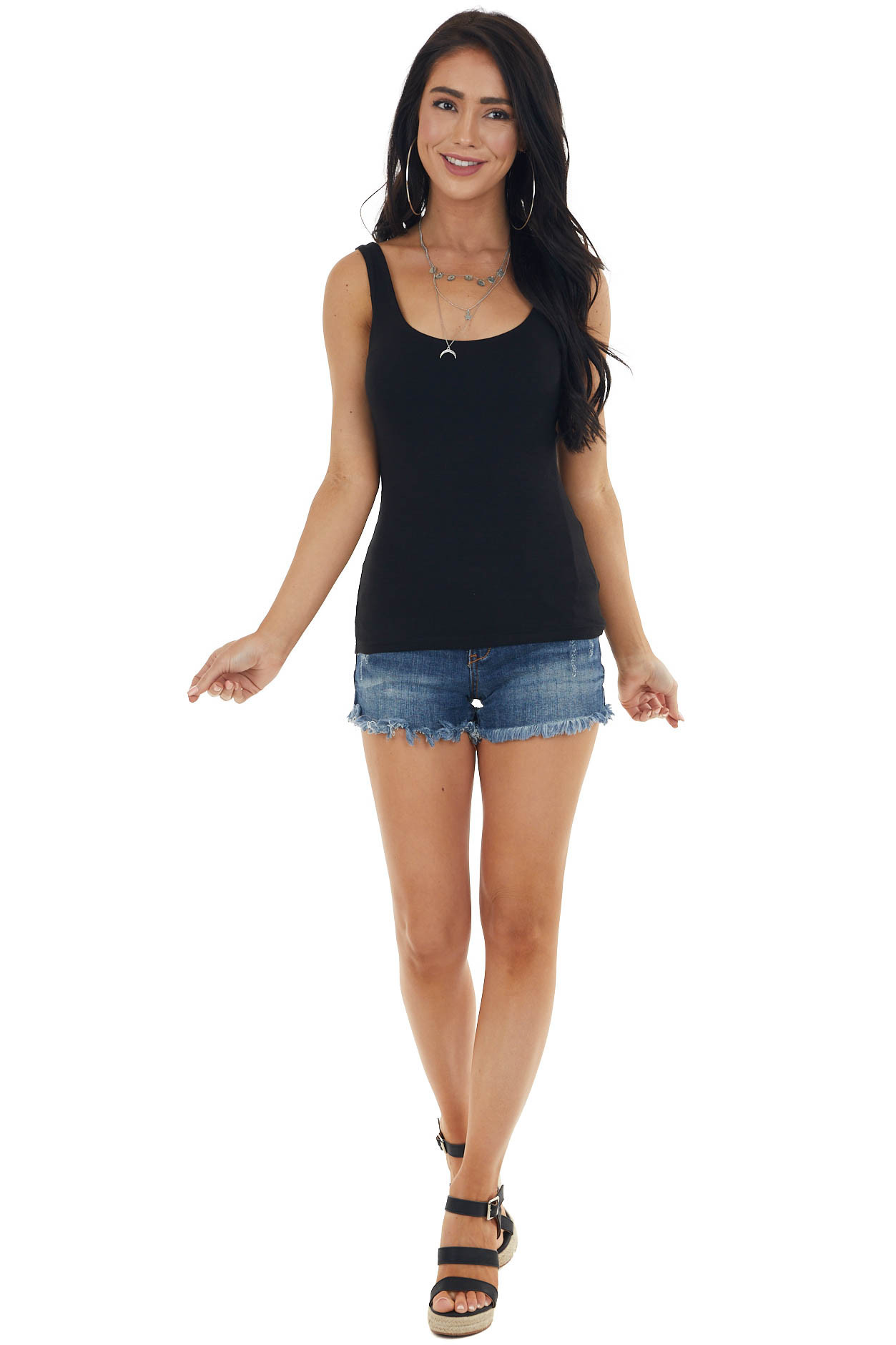 Black Fitted Lightweight Sleeveless Stretchy Knit Tank Top