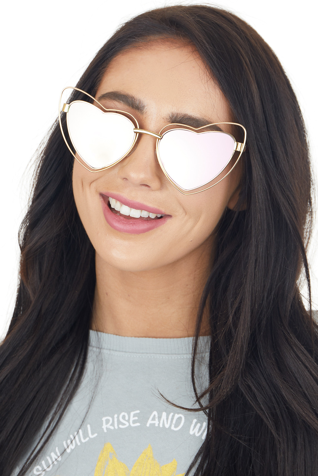 Gold Wire Framed Heart Shaped Sunglasses with Tinted Lenses