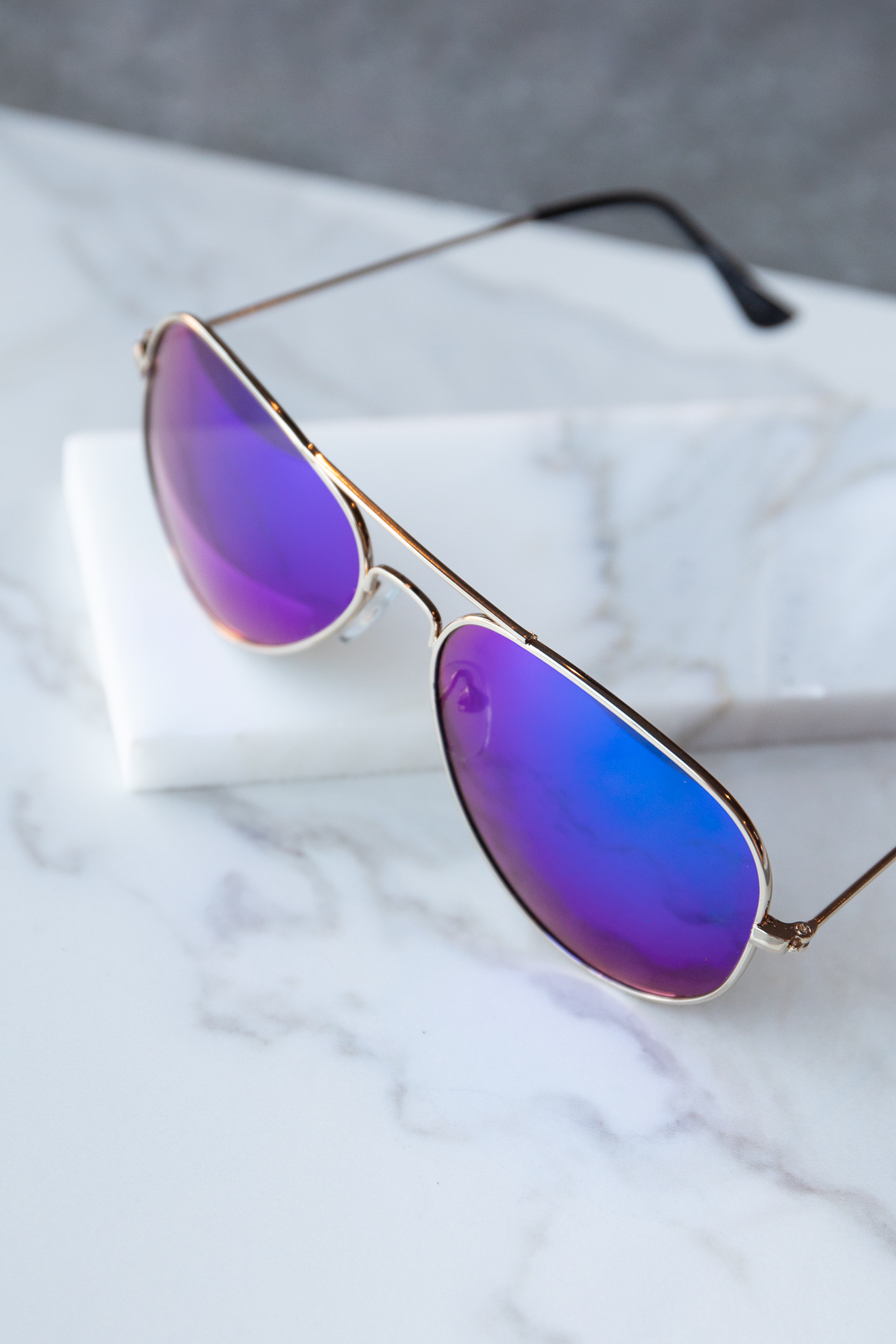 Royal Blue and Turquoise Tinted Metallic Aviator Sunglasses