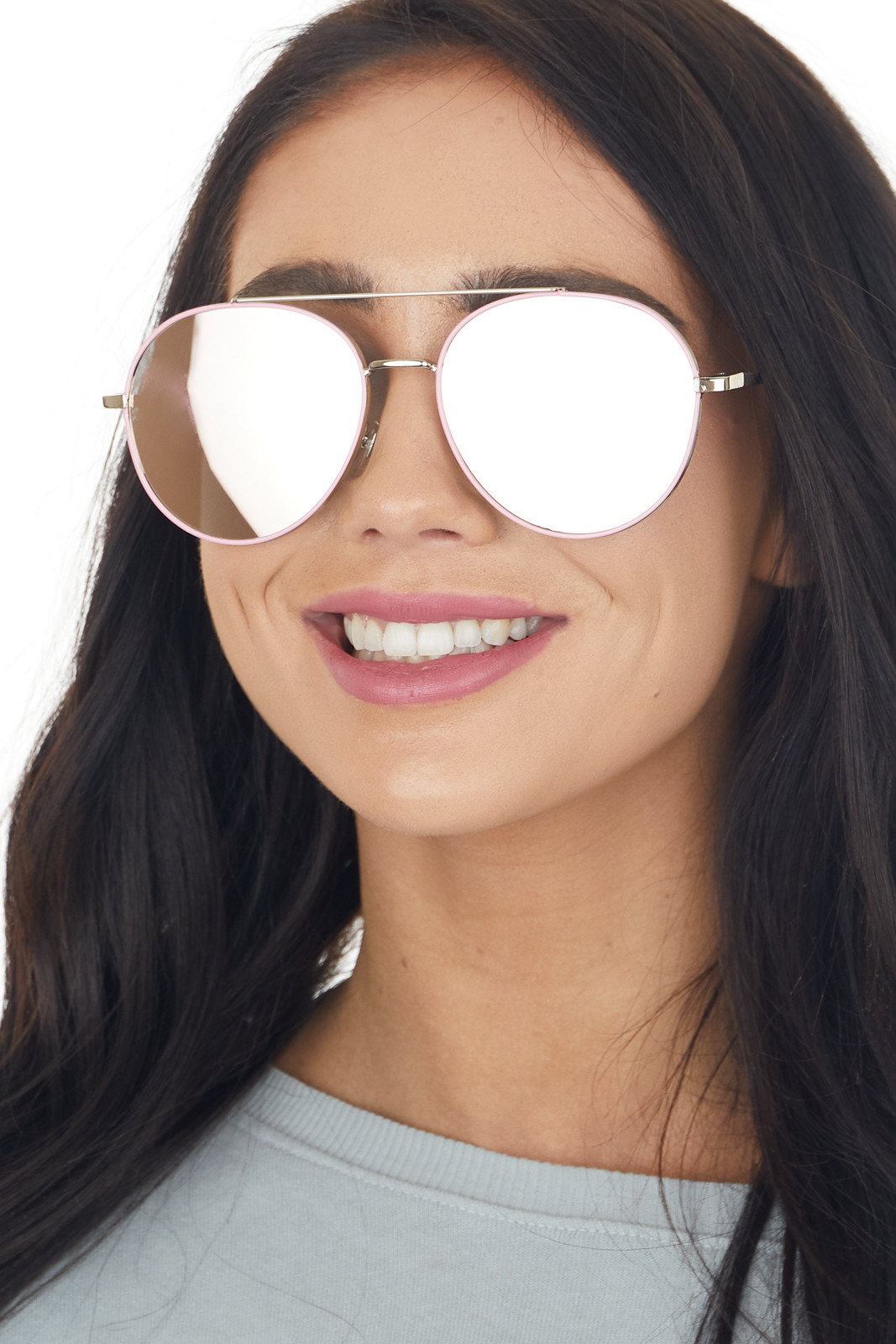 Baby Pink Framed Aviator Sunglasses with Blue Tinted Lenses