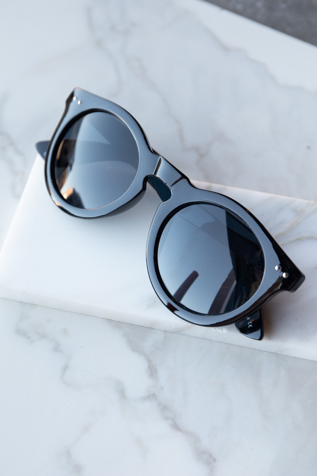 Black Thick Frame Sunglasses with Dark Tinted Lenses