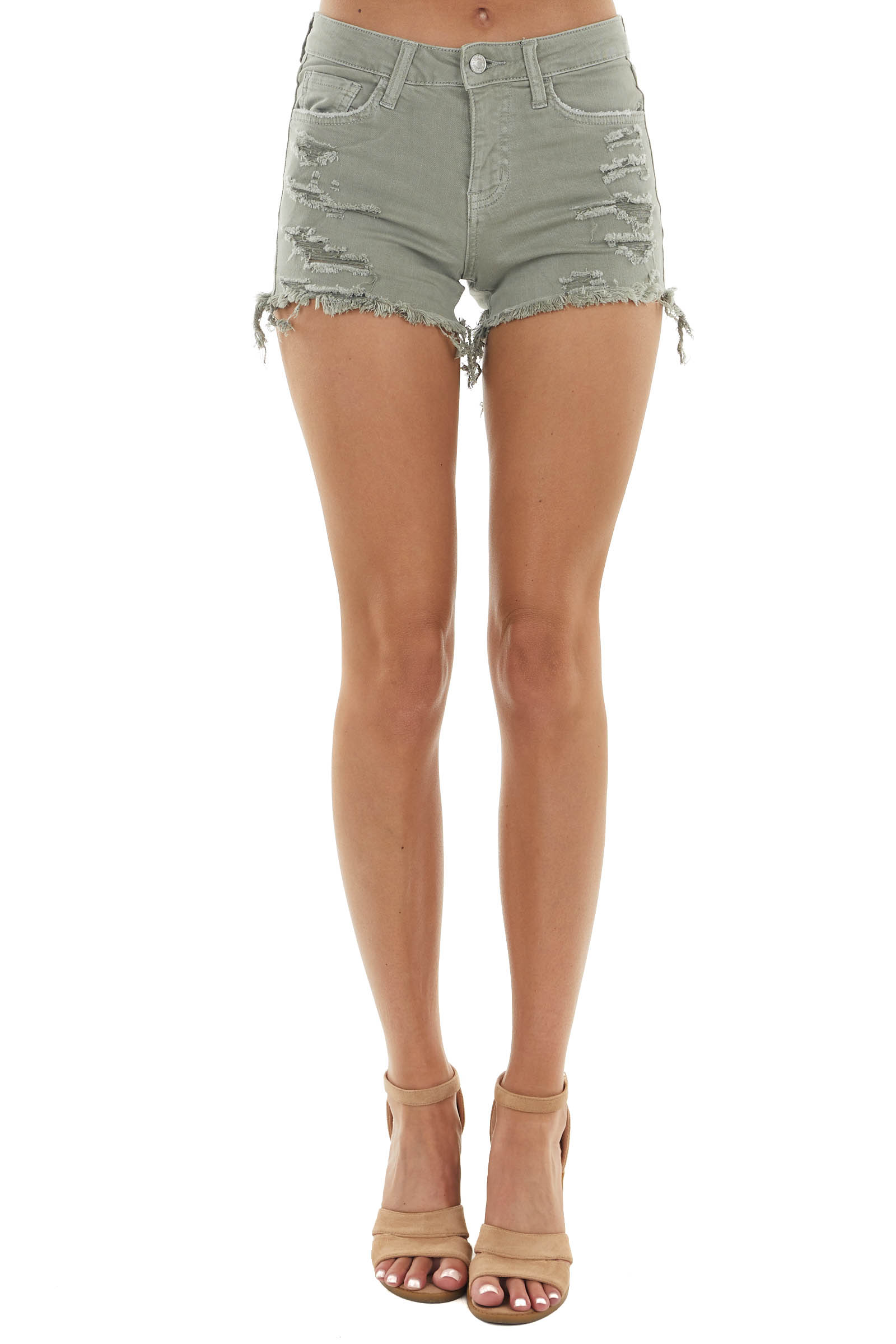 Olive High Rise Shorts with Distressed Details and Raw Hem