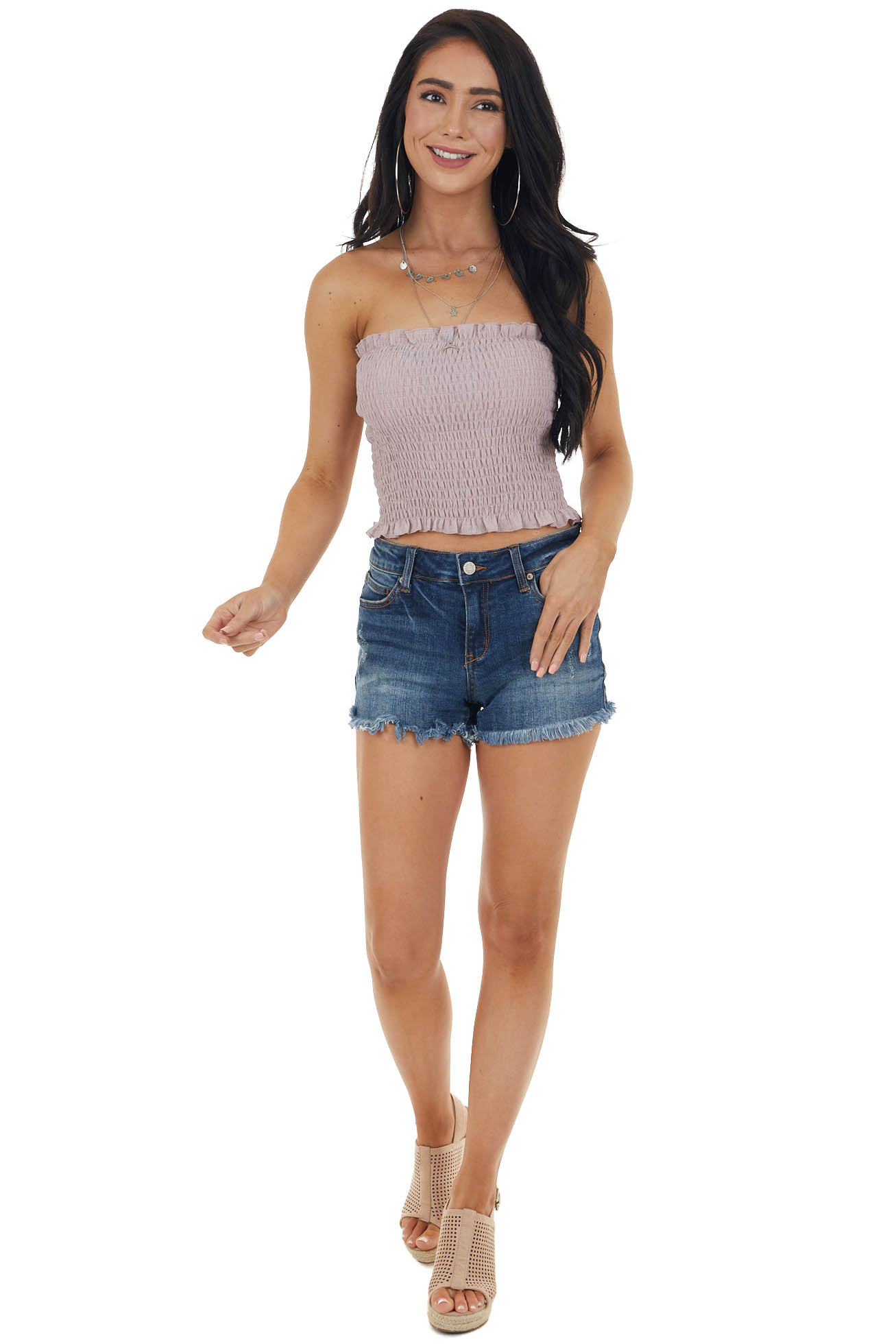 Dusty Rose Strapless Smocked Bandeau Top with Ruffled Hem