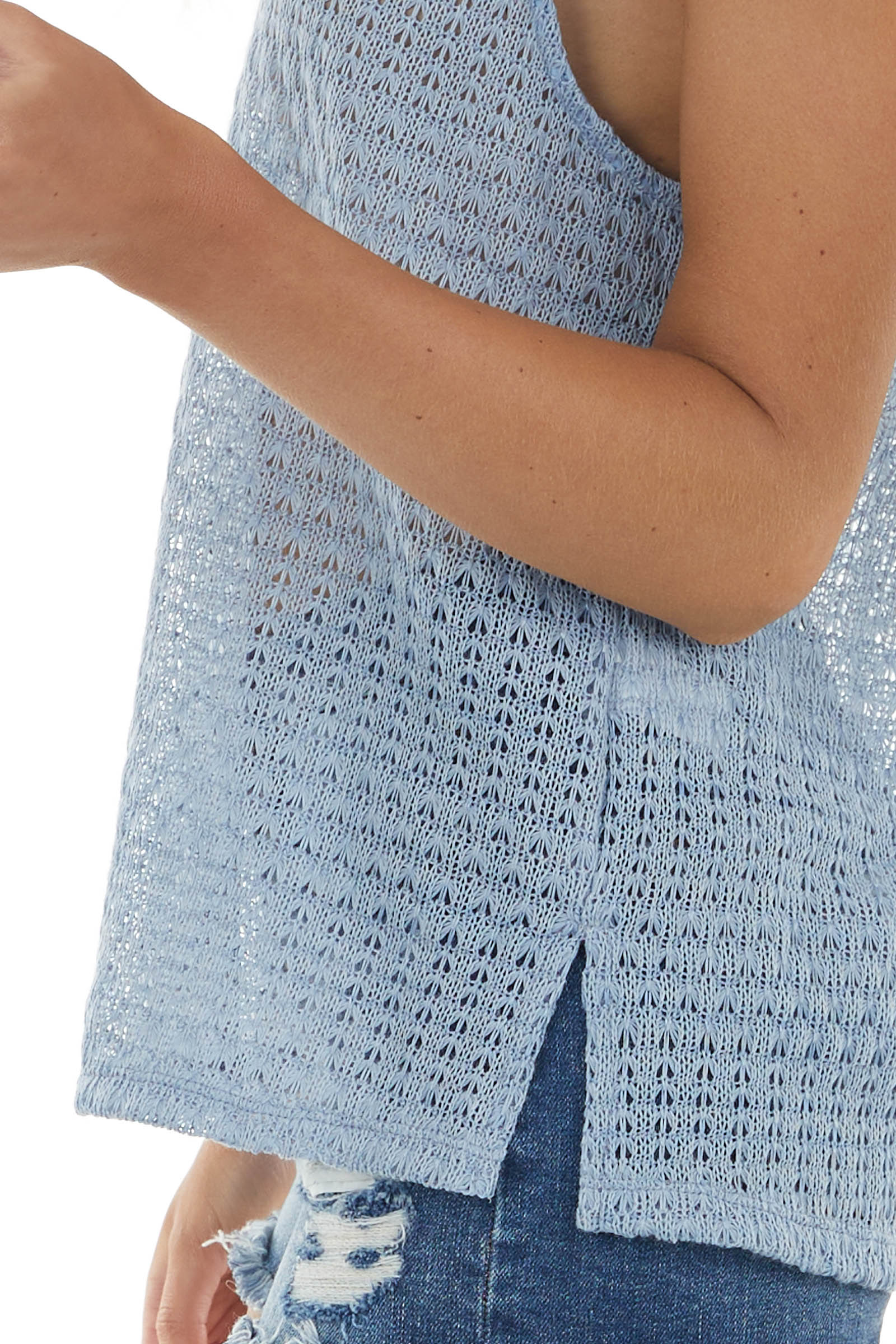 Powder Blue Textured Sleeveless V Neck Loose Knit Tank Top