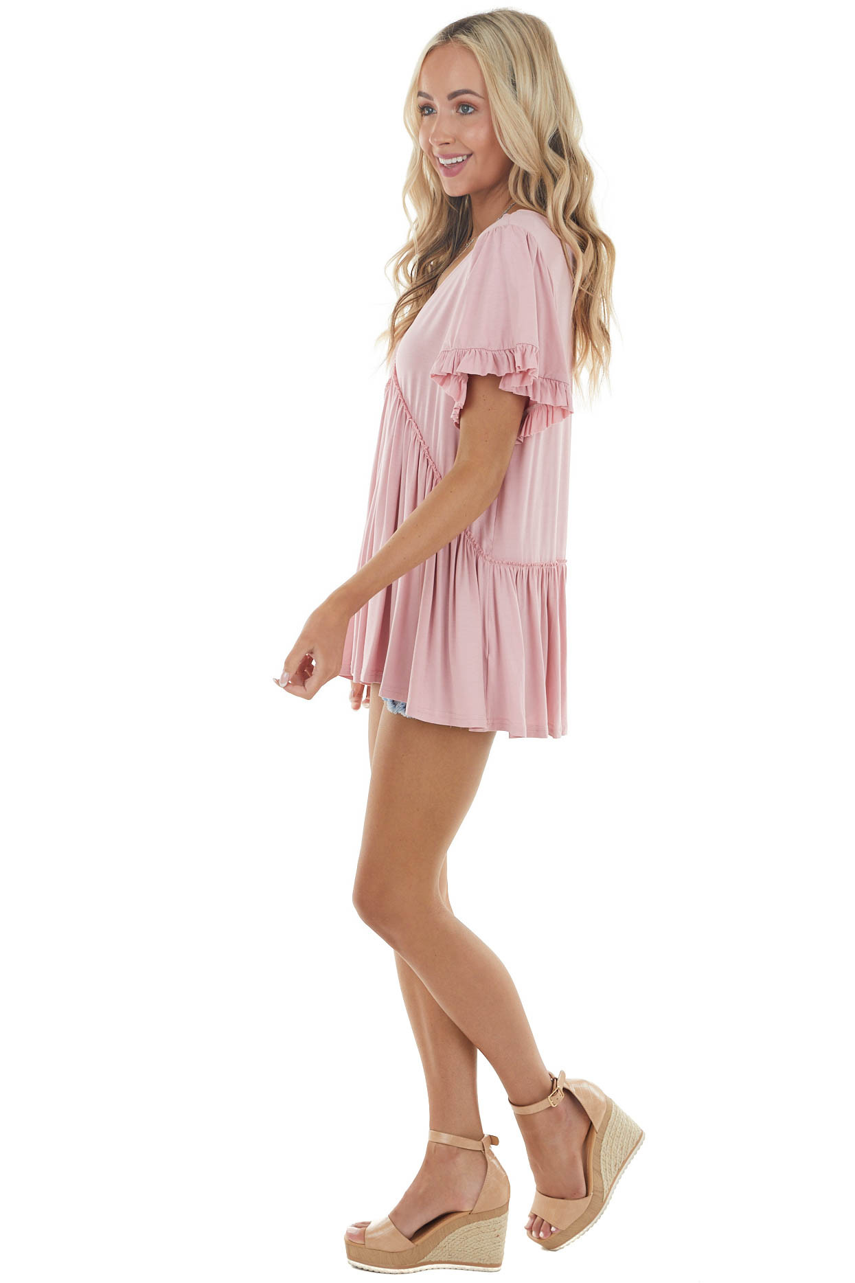 Cherry Blossom Jersey Knit Top with Short Ruffle Sleeves