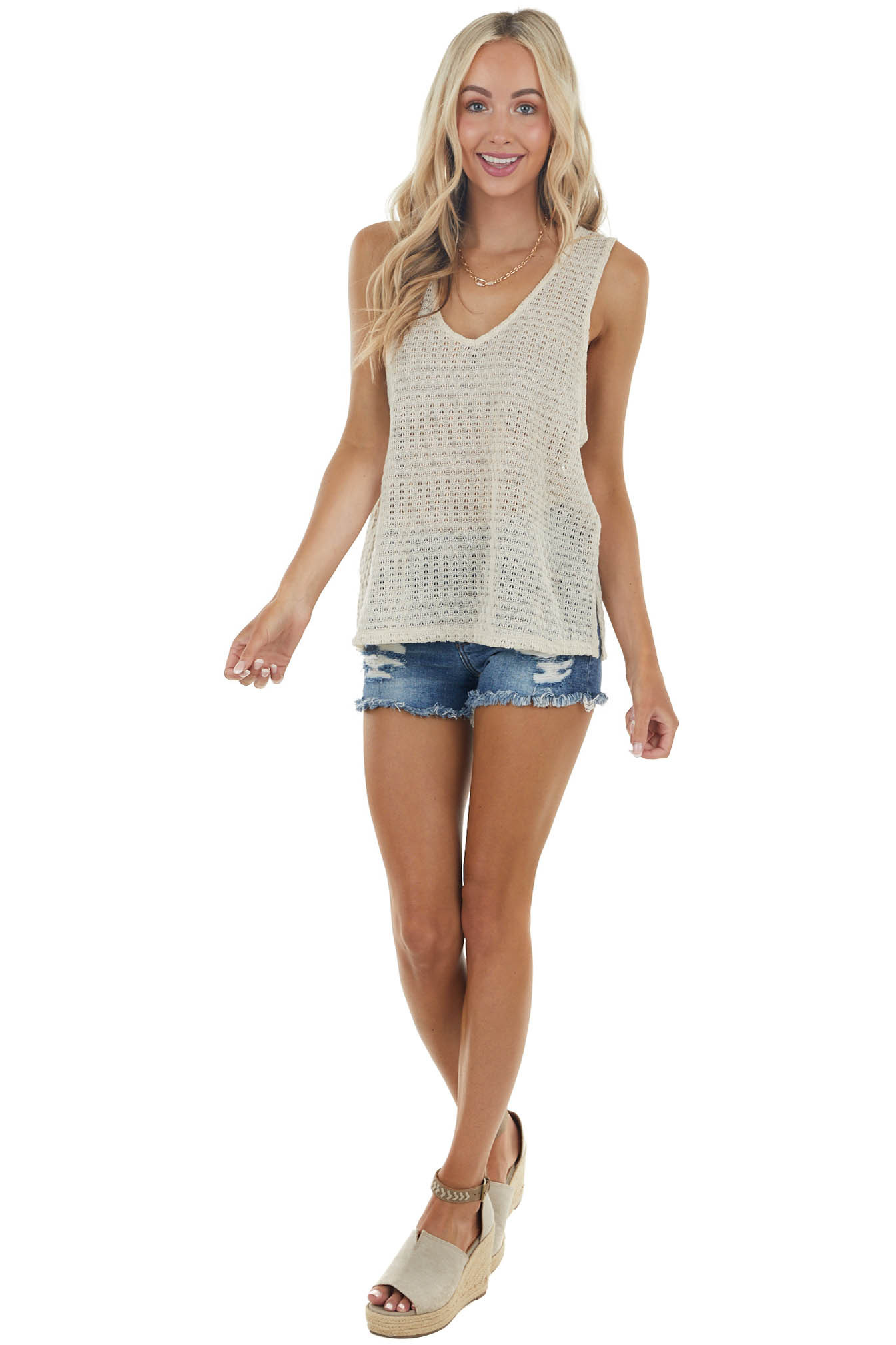Sand Textured Sleeveless V Neck Loose Knit Tank Top