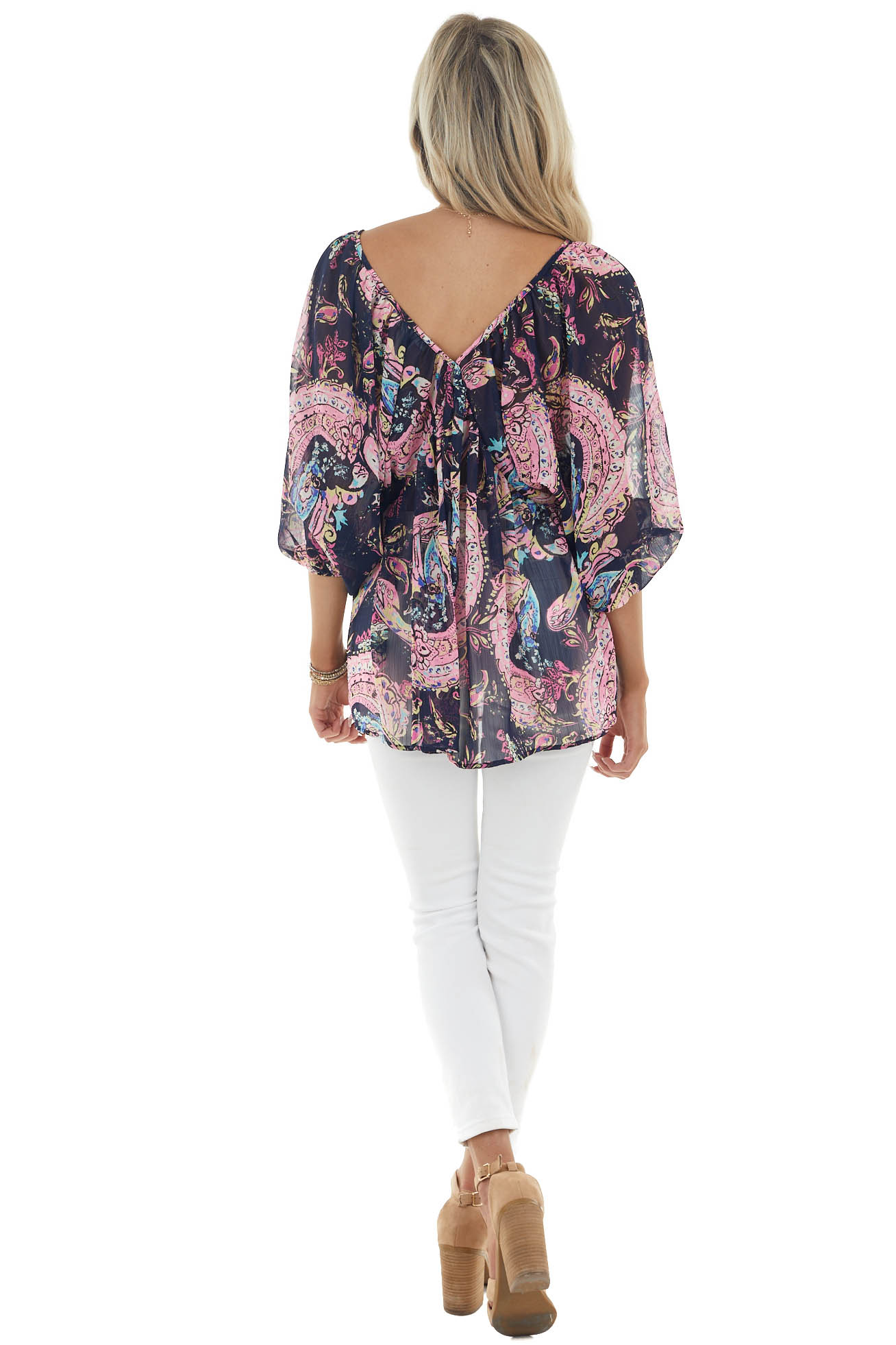 Navy Paisley Print 3/4 Sleeve Sheer Top with Plunging Neck
