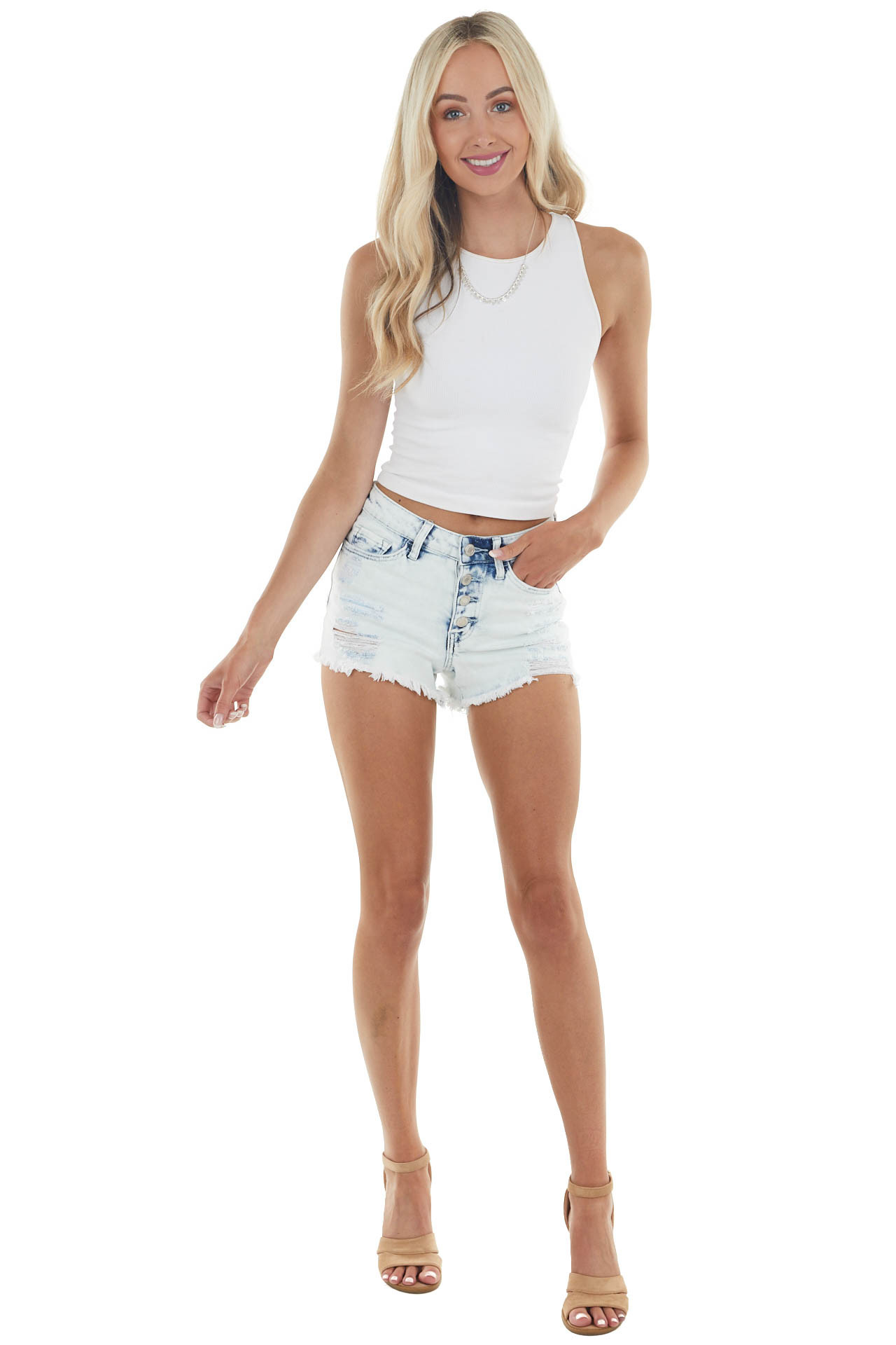 Light Acid Wash Mid Rise Jean Shorts with Distressed Details