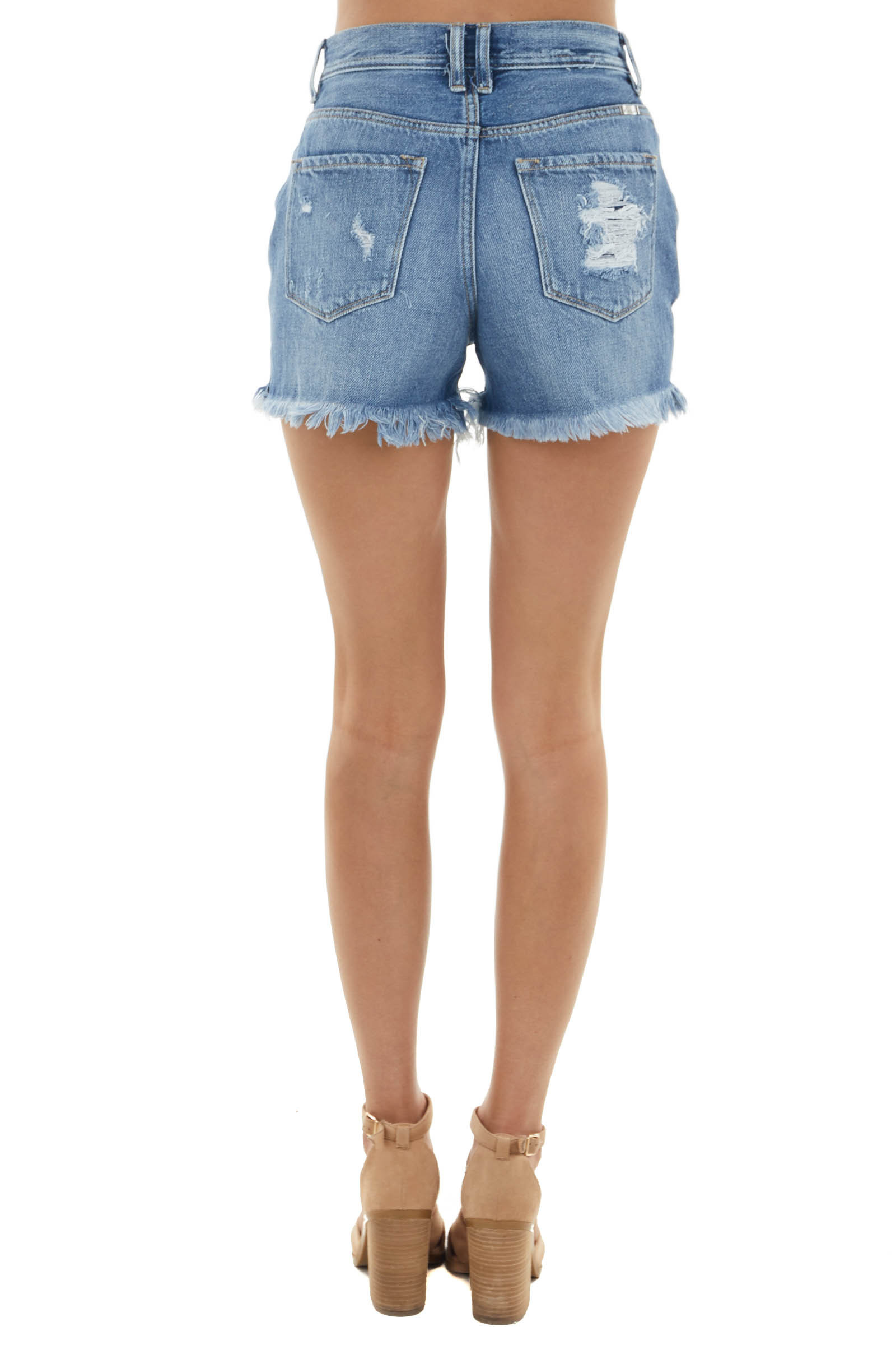 Medium Wash High Rise Button Up Shorts with Distressing