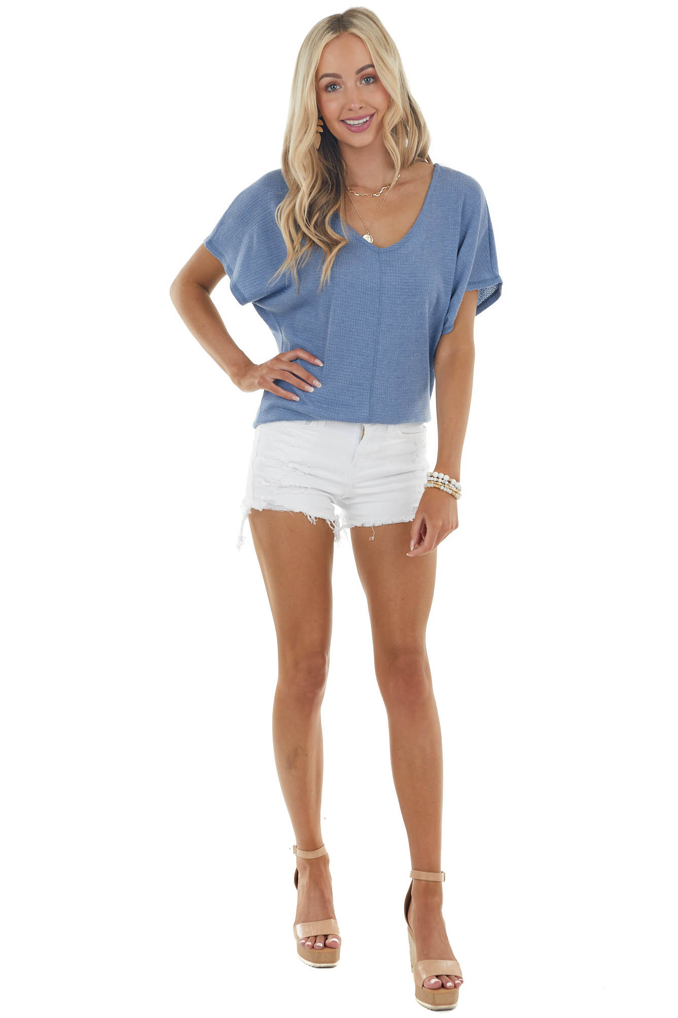 Ocean Blue Short Dolman Sleeve Knit Top with Cut Out Detail