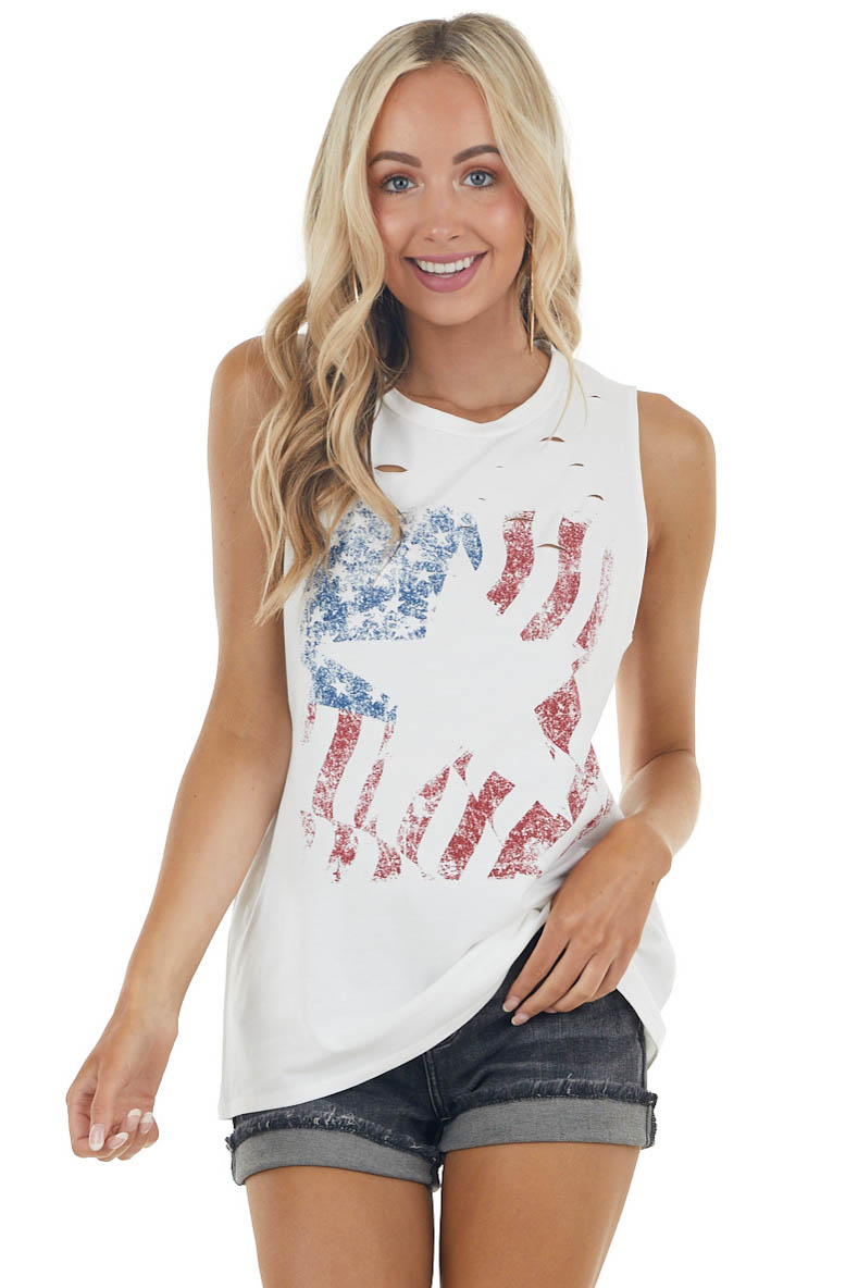 Off White American Flag with Star Graphic Knit Tank Top
