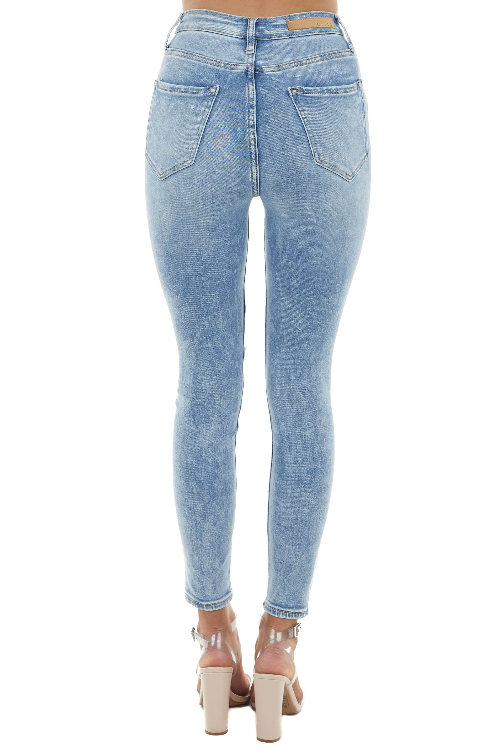 Light Acid Wash High Rise Jeans with Light Distressing