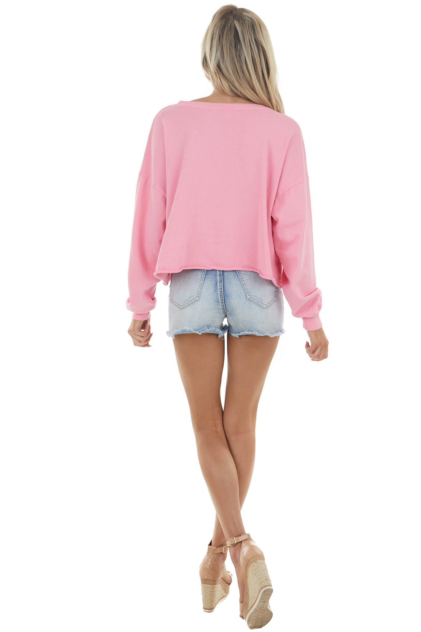 Carnation Adventure Graphic Sweatshirt with Rolled Hemline