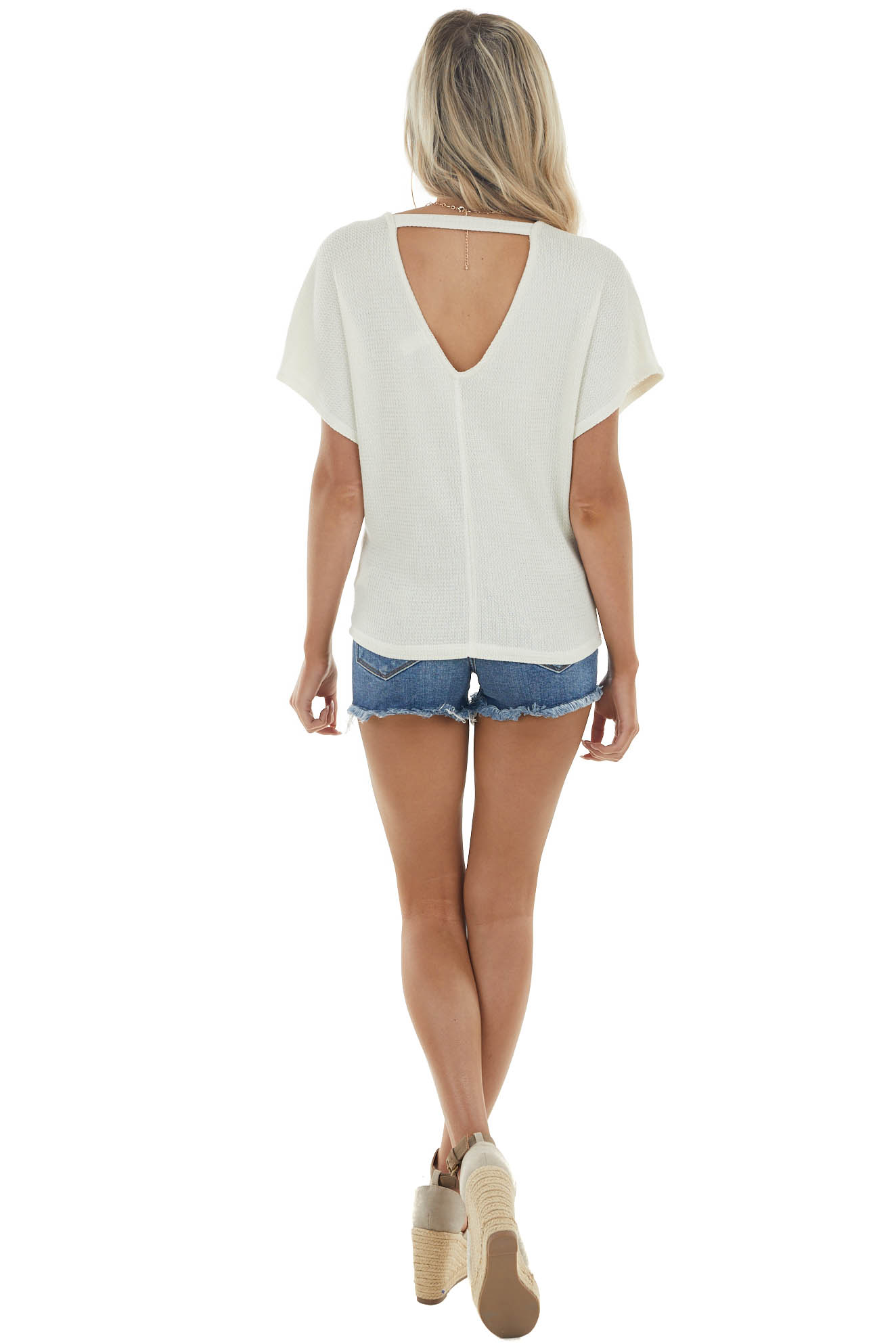 Rich Cream Short Dolman Sleeve Knit Top with Cut Out Detail