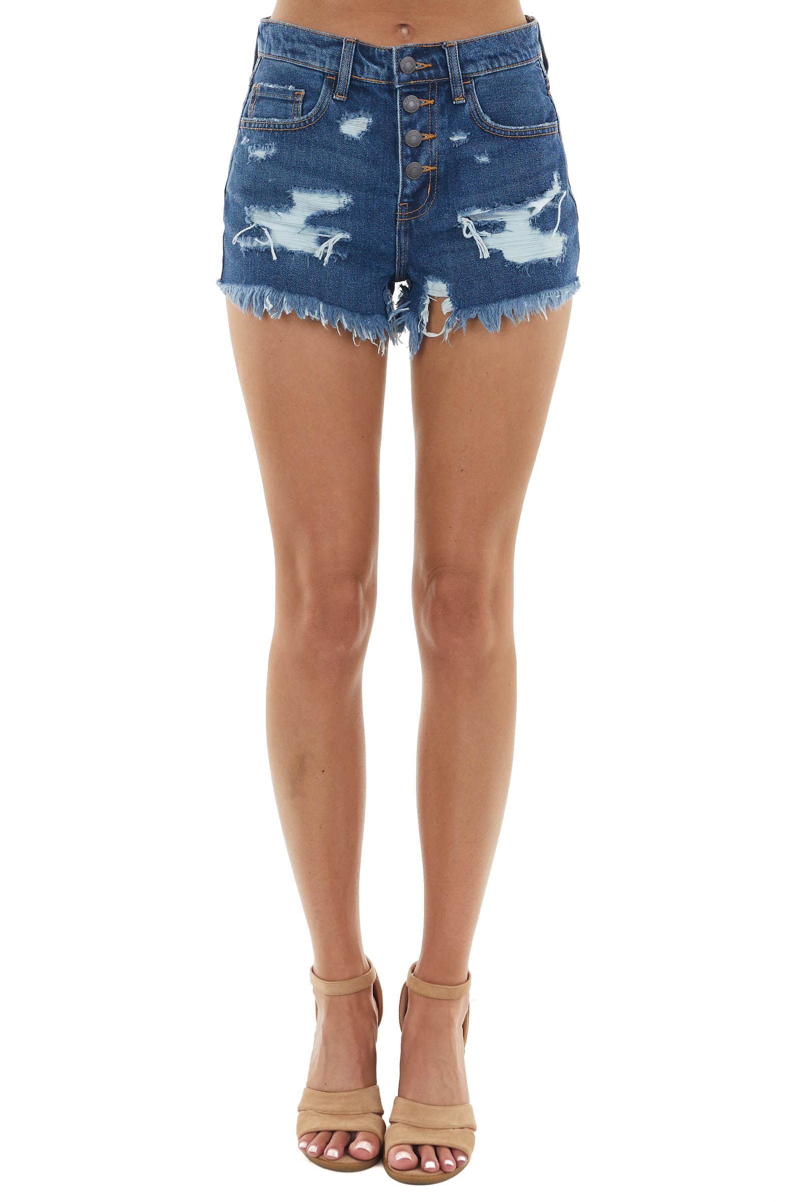 Dark Wash High Rise Distressed Shorts with Button Closures