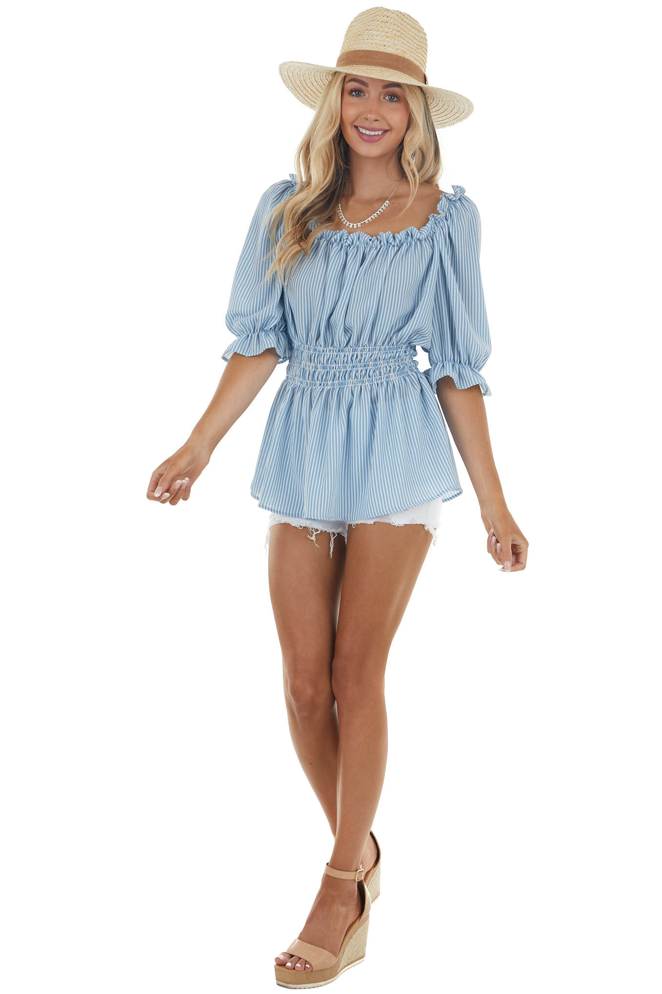Baby Blue Striped Short Sleeve Top with Smocked Detail