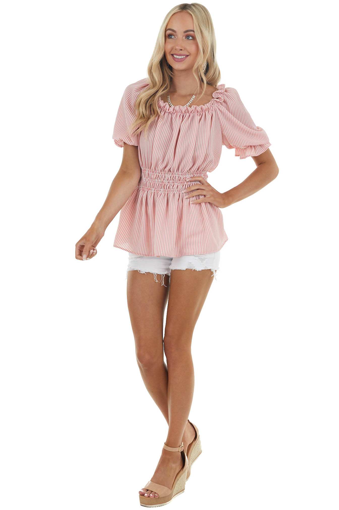 Punch Striped Short Sleeve Top with Smocked Detail