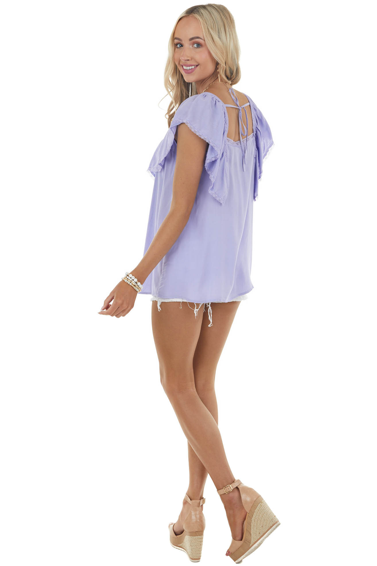 Iris Short Overlay Sleeves Woven Top with Lace Details