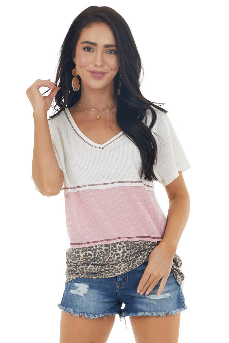 Baby Pink Colorblock Short Sleeve V Neck Waffle Knit Top