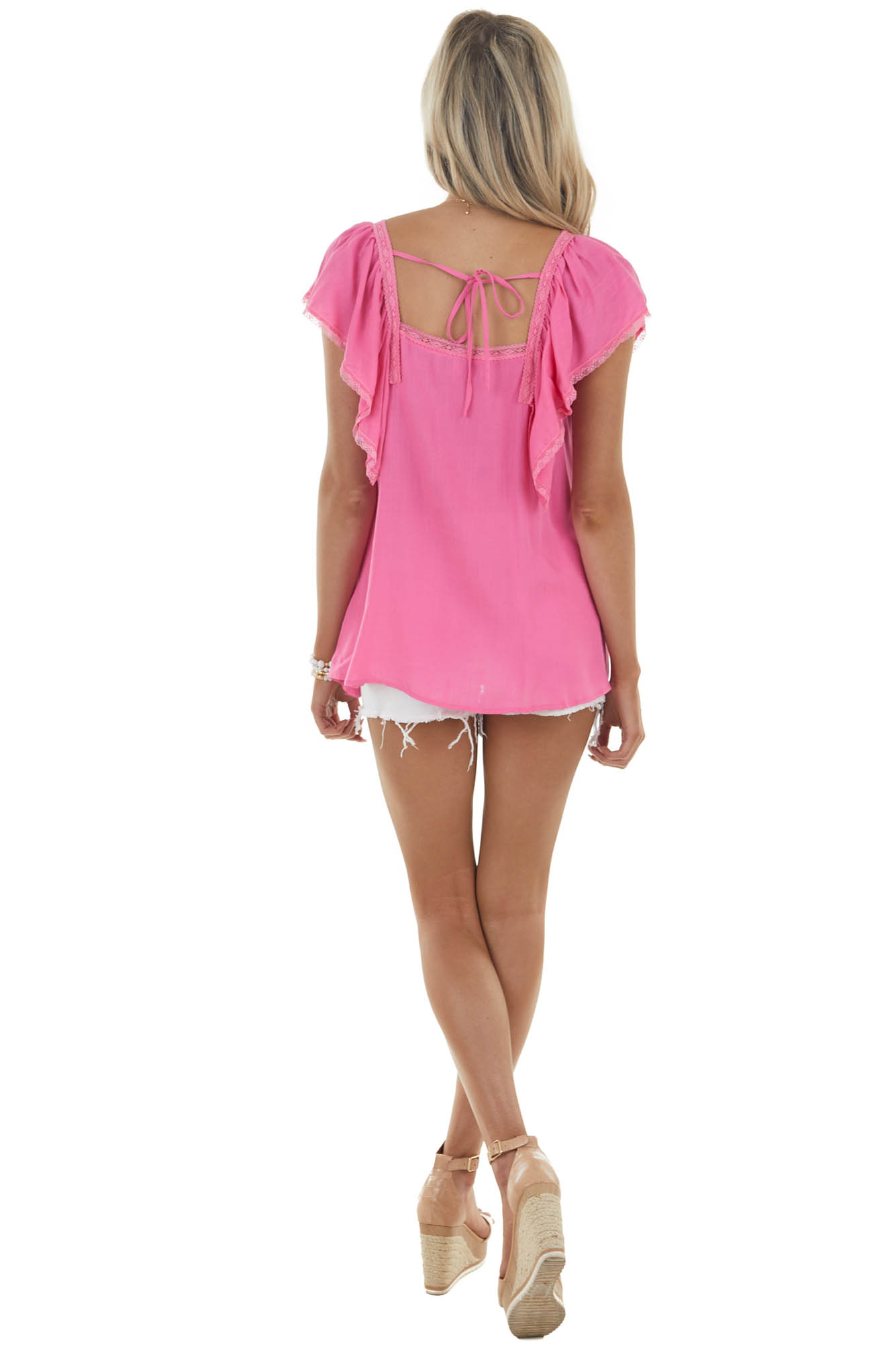 Dark Pink Short Overlay Sleeves Woven Top with Lace Details