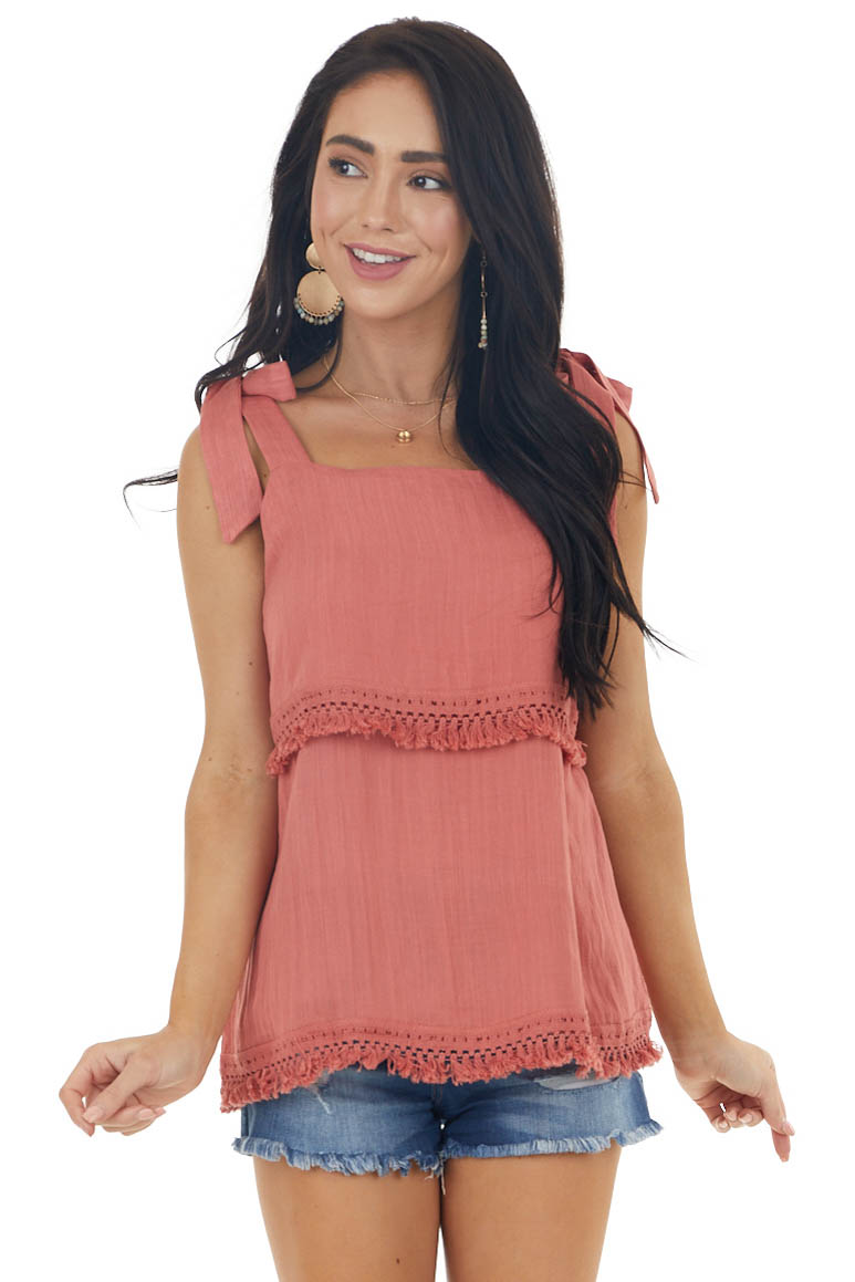 Rust Tiered Sleeveless Top with Tie Straps and Tassels