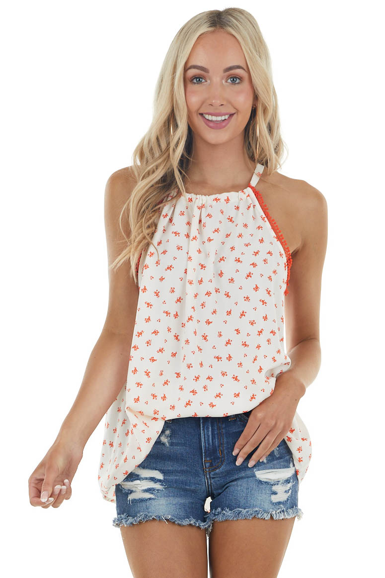 Ivory and Rust Floral Halter Neck Blouse with Lace Detail