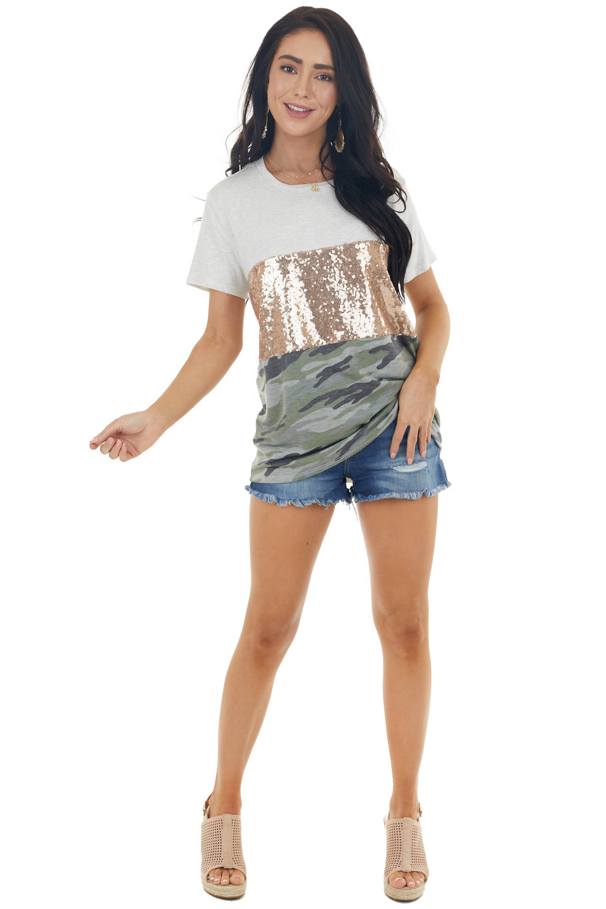 Pewter Grey Camo Colorblock Knit Tee with Short Sleeves