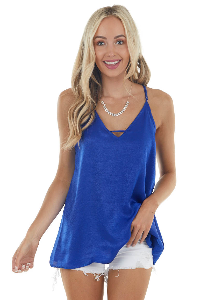Royal Racerback Satin Woven Camisole with Neckline Strap