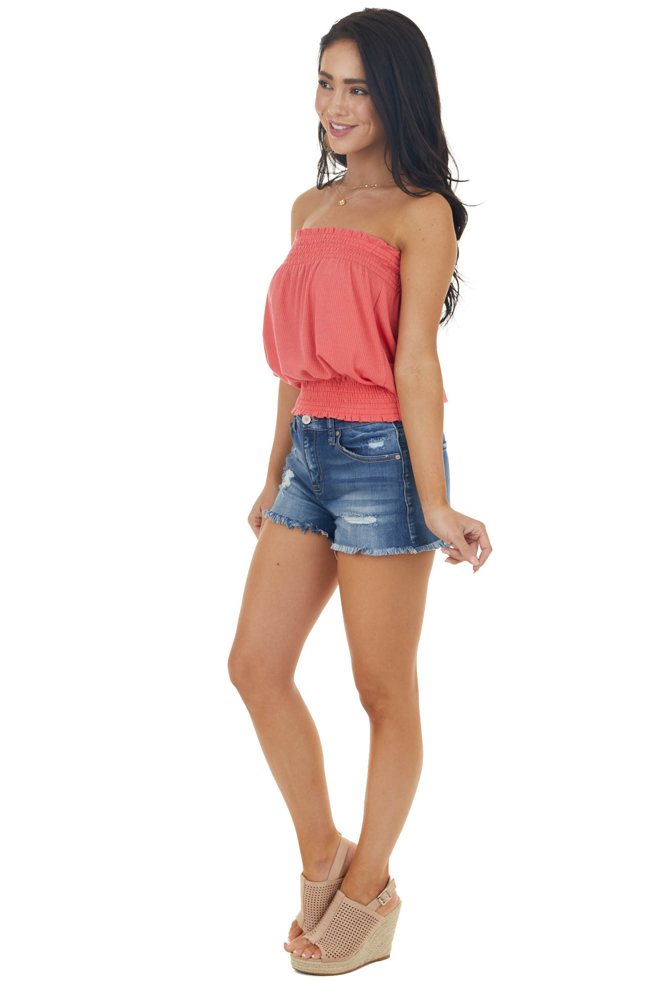 Watermelon Sleeveless Ribbed Knit Top with Smocked Details