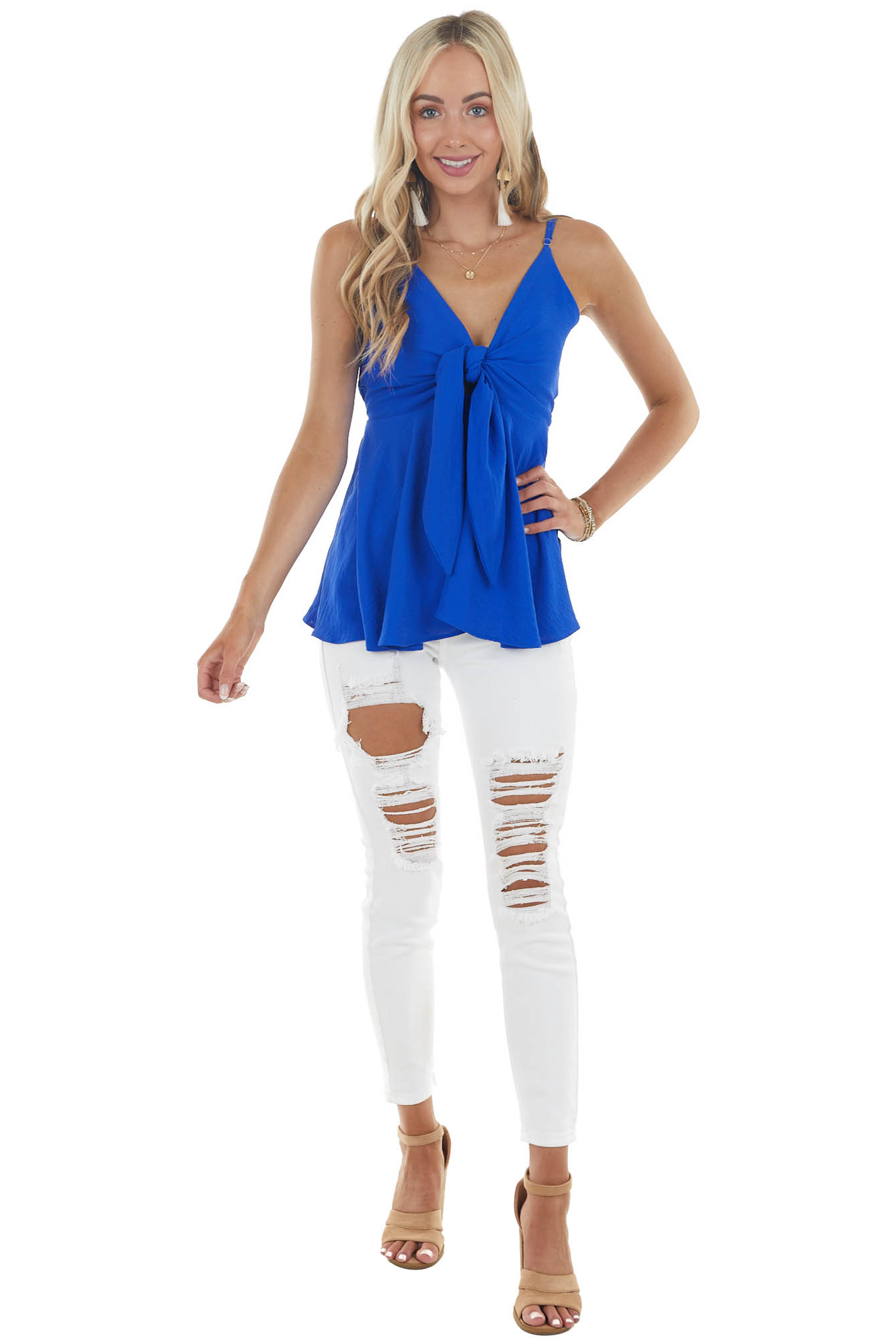 Royal Blue Sleeveless Flowy Babydoll Blouse with Front Tie