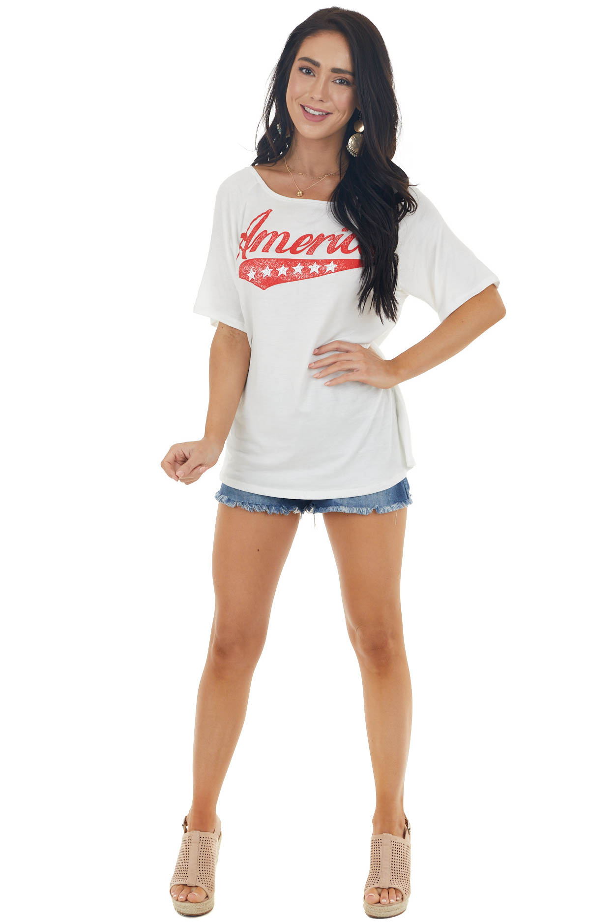 """Ivory Short Sleeve """"America"""" Graphic Top with Boat Neck"""
