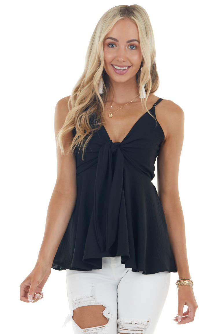 Black Sleeveless Flowy Babydoll Blouse with Front Tie