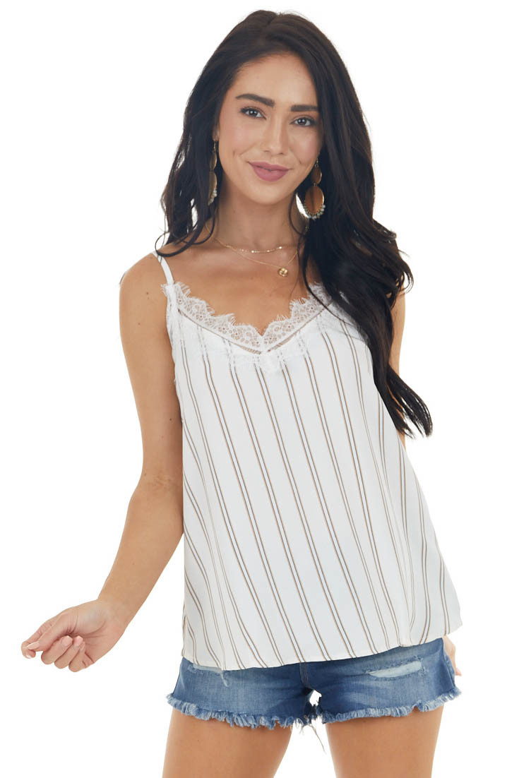 Ivory Striped Woven Camisole with Lace Trimmed V Neckline