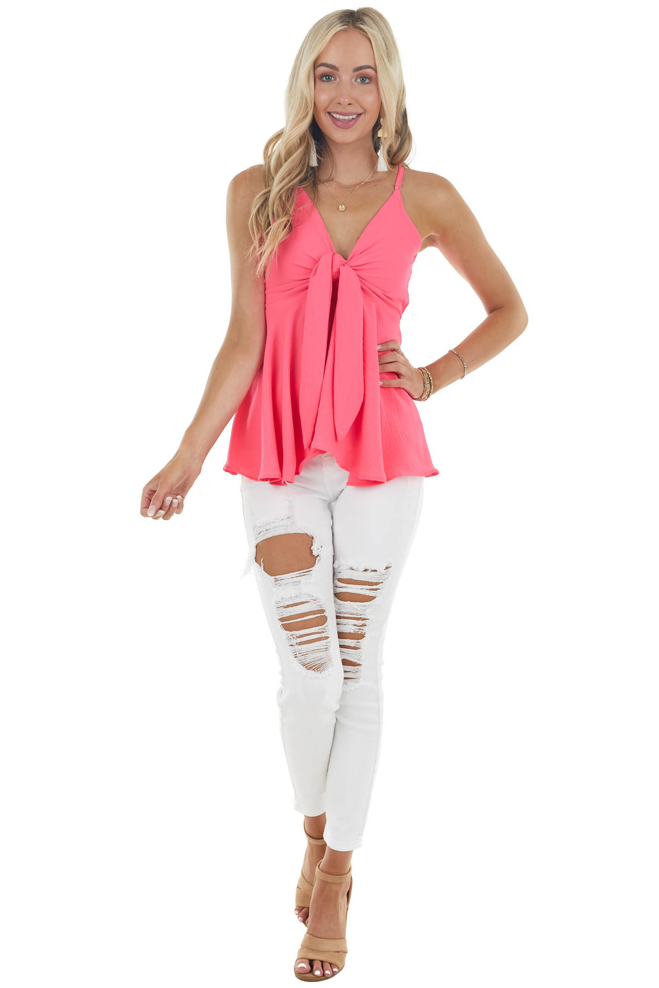 Neon Pink Sleeveless Flowy Babydoll Blouse with Front Tie