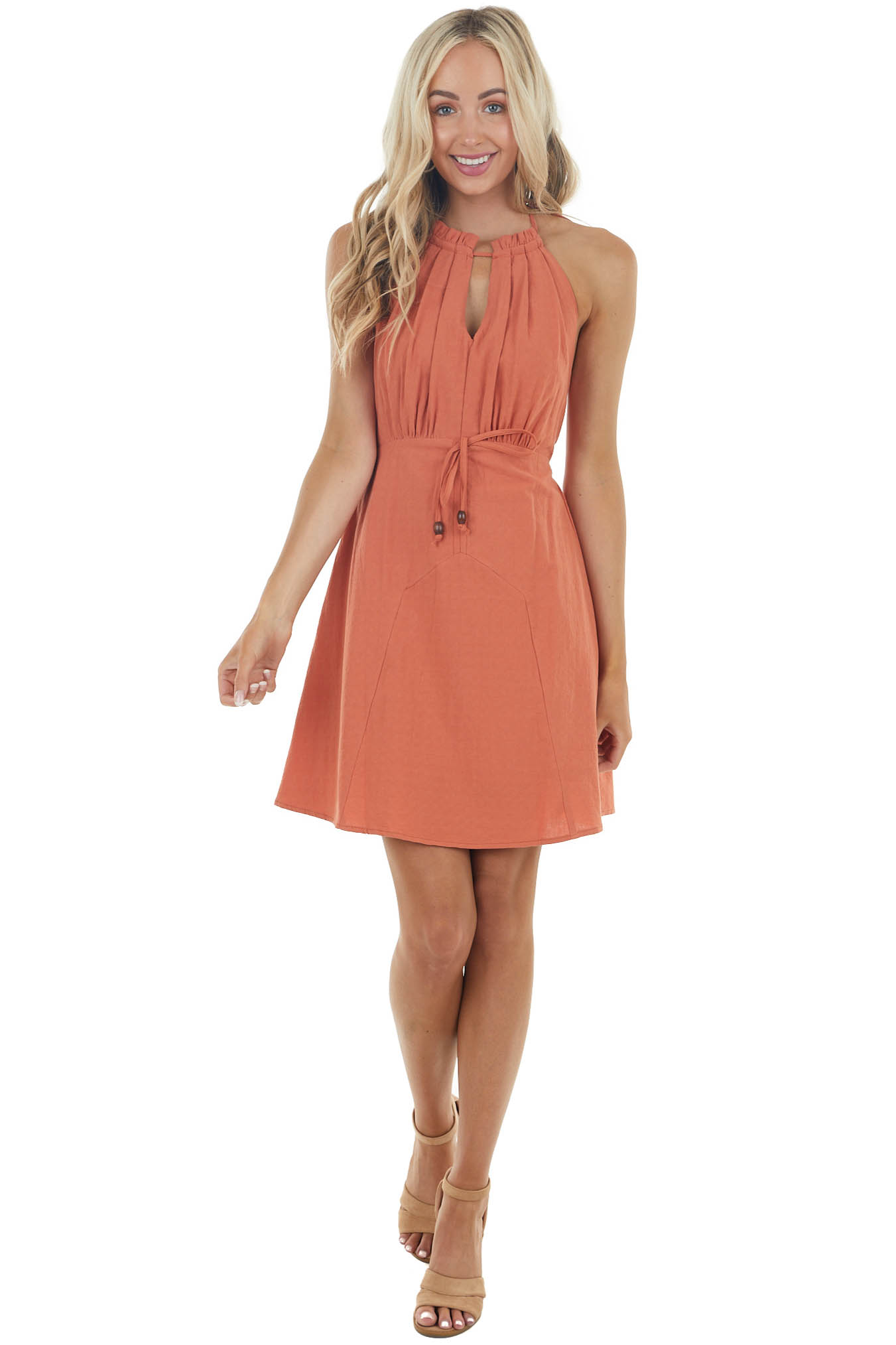 Marmalade Woven Halter Neck Short Dress with Smocked Back