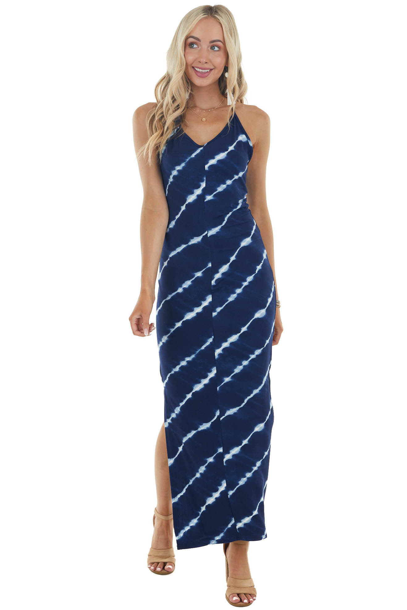 Navy Blue Tie Dye Sleeveless Knit Maxi Dress with Side Slits