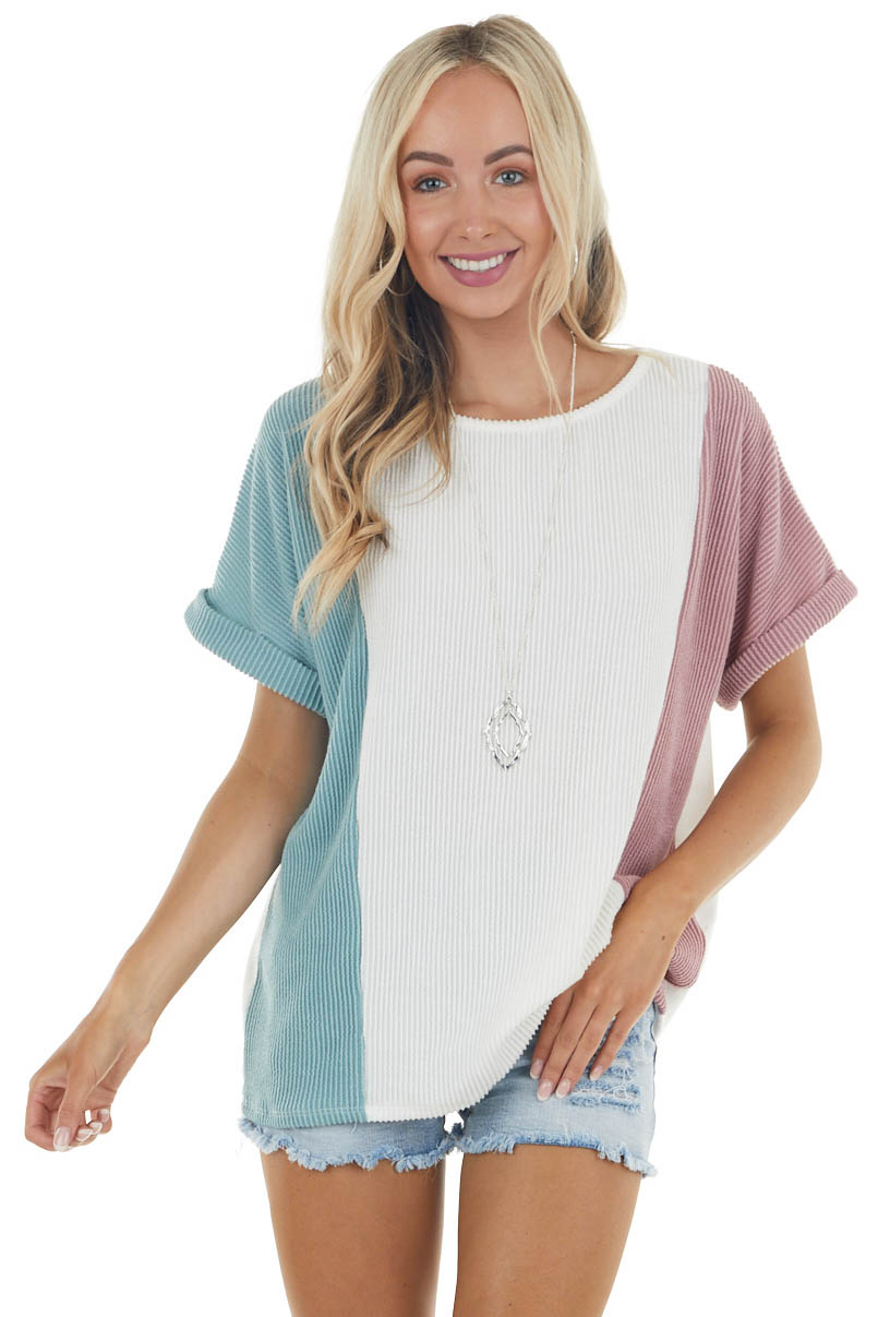 Ivory Ribbed Colorblock Knit Top with Short Cuffed Sleeves