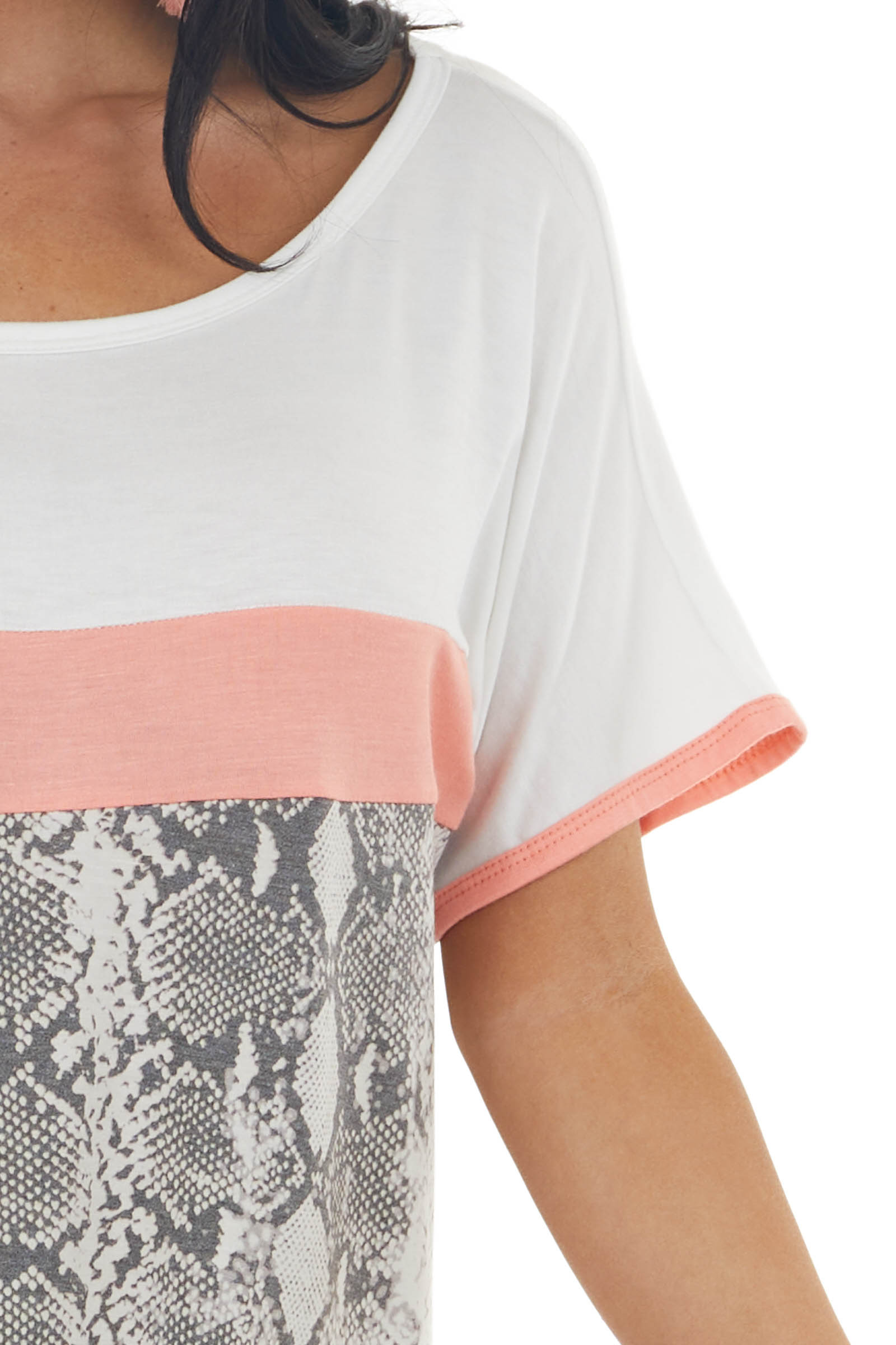 Snakeskin Print Colorblock Short Sleeve Top with Boat Neck