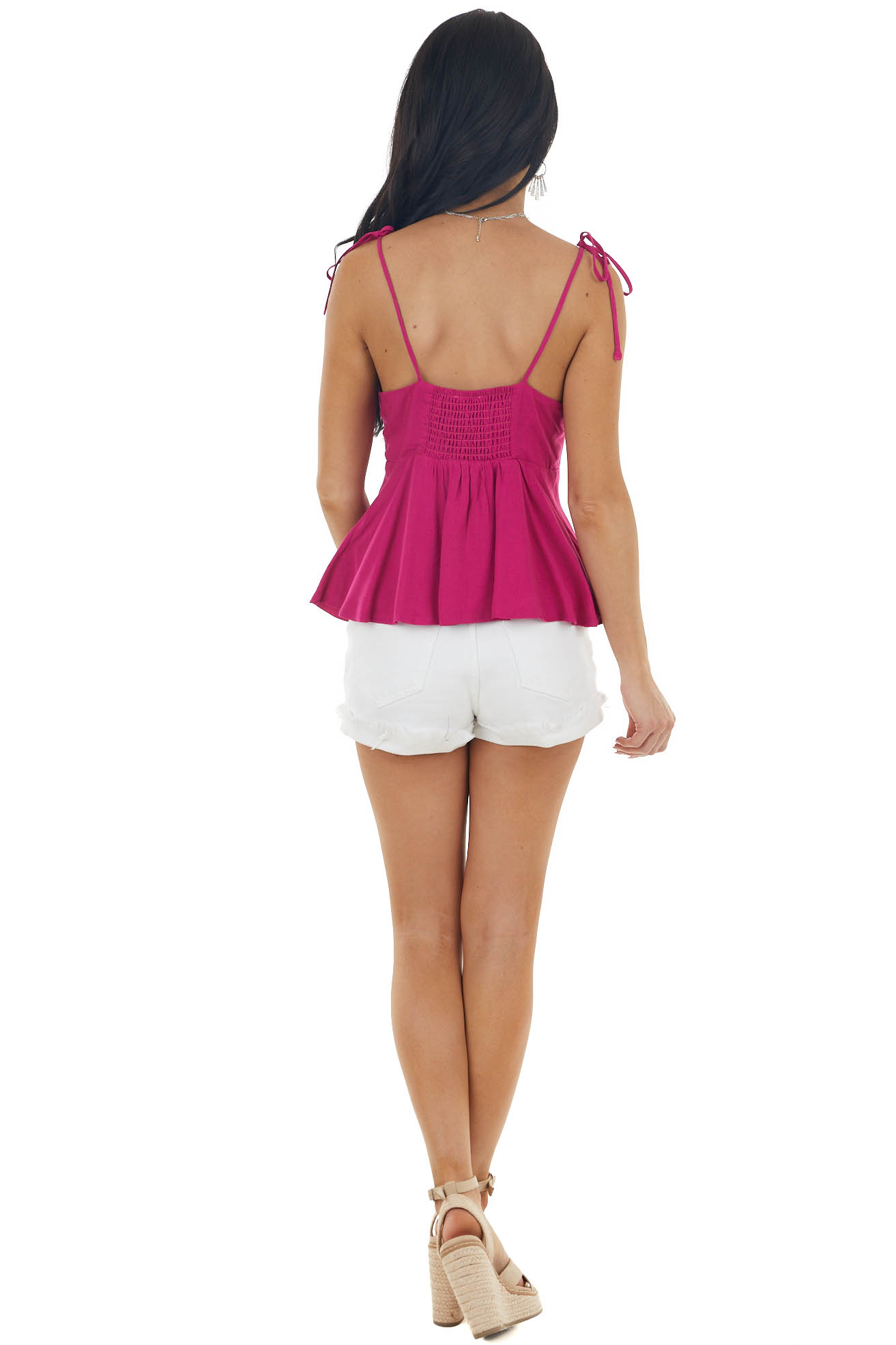 Rich Raspberry Woven Tank Top with Tie Front Closure