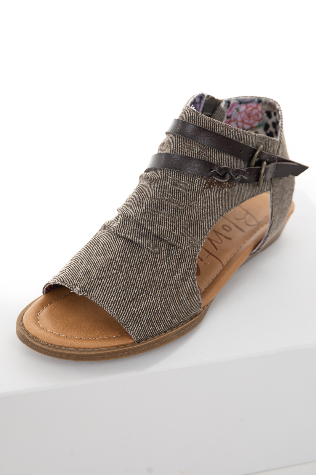 Ash Grey Fabric Top Open Toe Sandals with Buckle Details