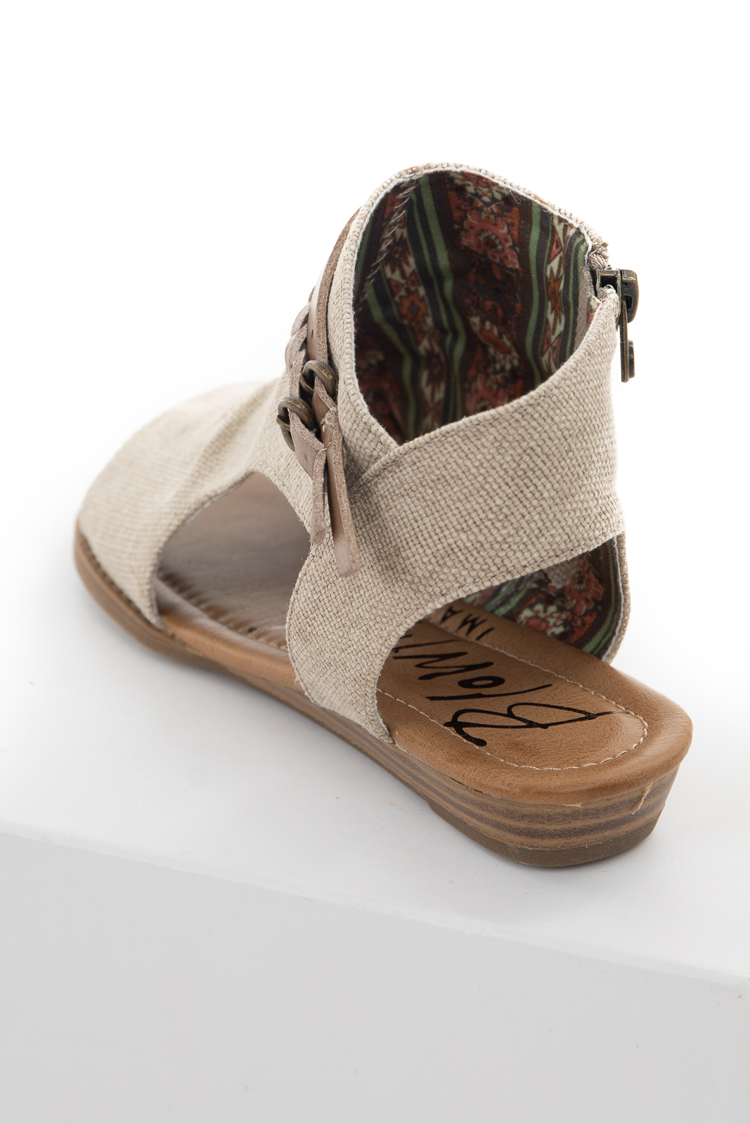 Oatmeal Fabric Top Open Toe Sandals with Buckle Details