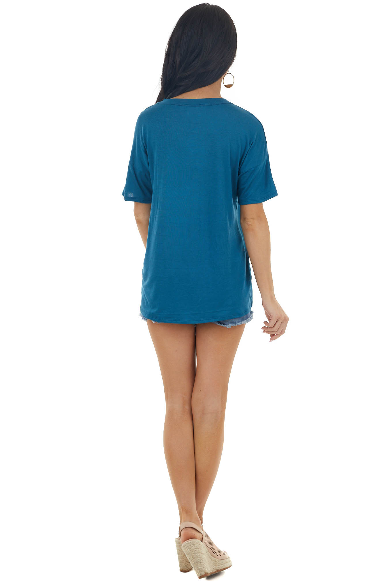 Dark Ocean Blue Short Sleeve Knit Top with Caged Neckline