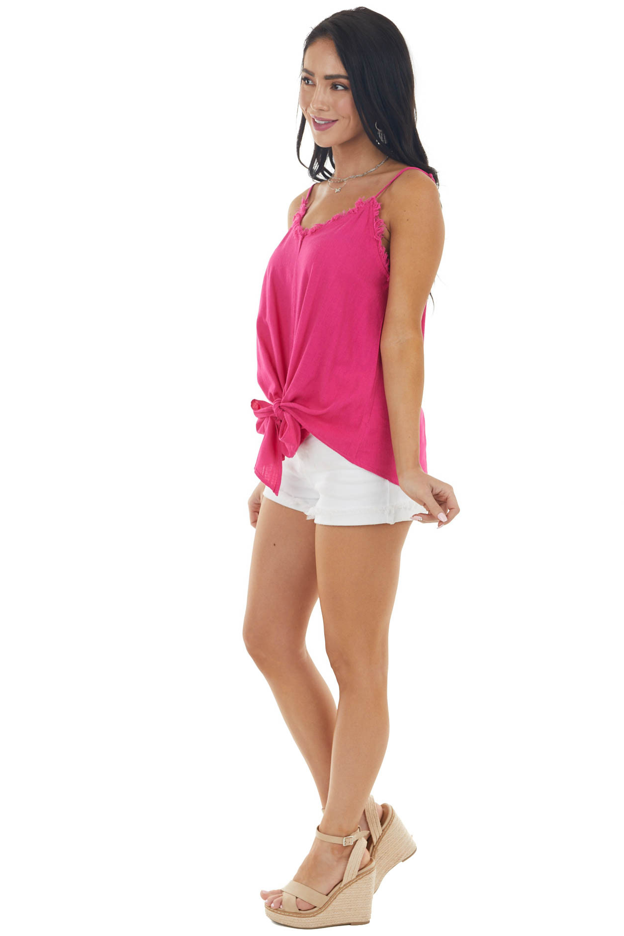 Magenta Textured Woven Tank with Raw Neckline and Front Tie