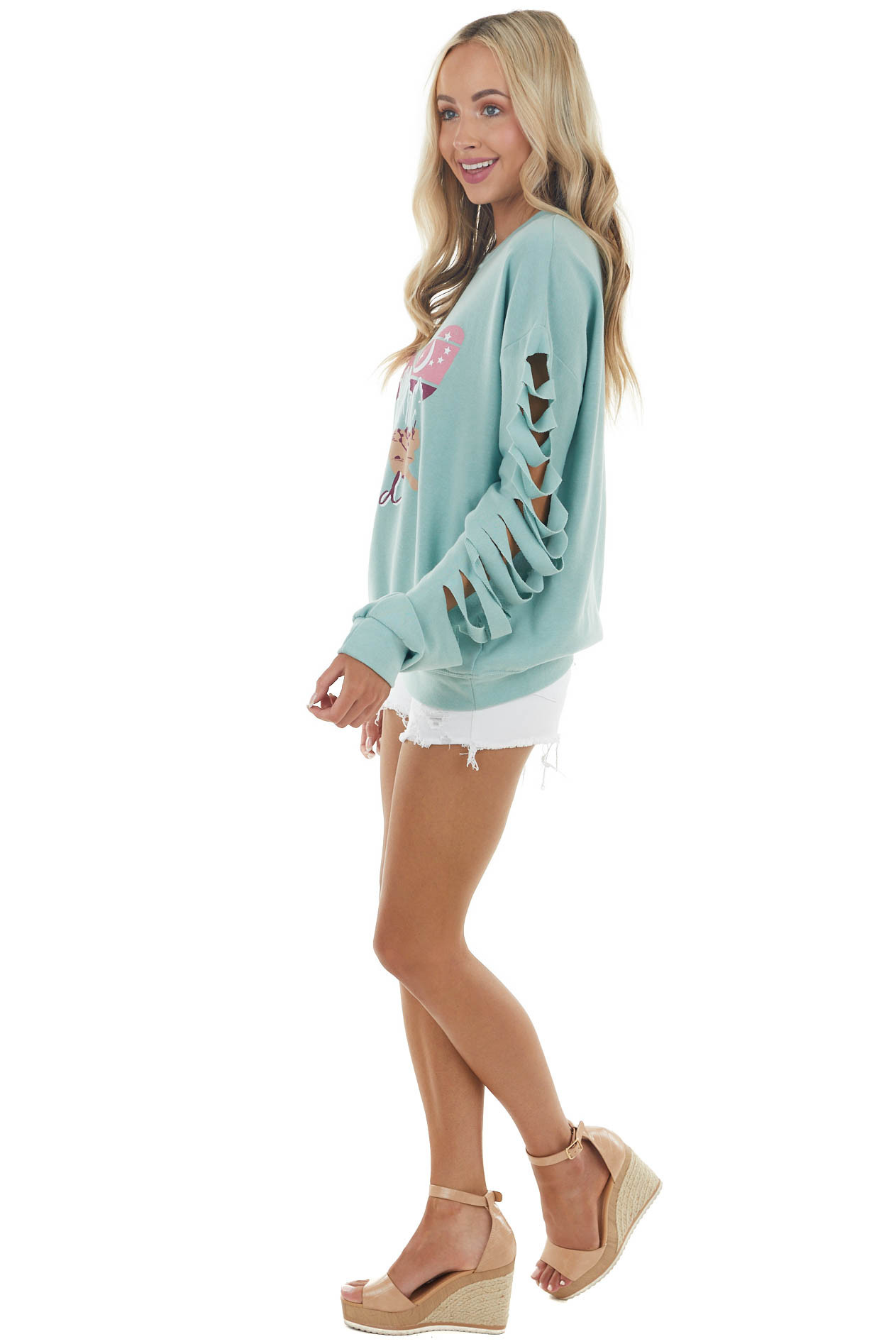 Turquoise Green Butterfly Nature Graphic Knit Sweatshirt