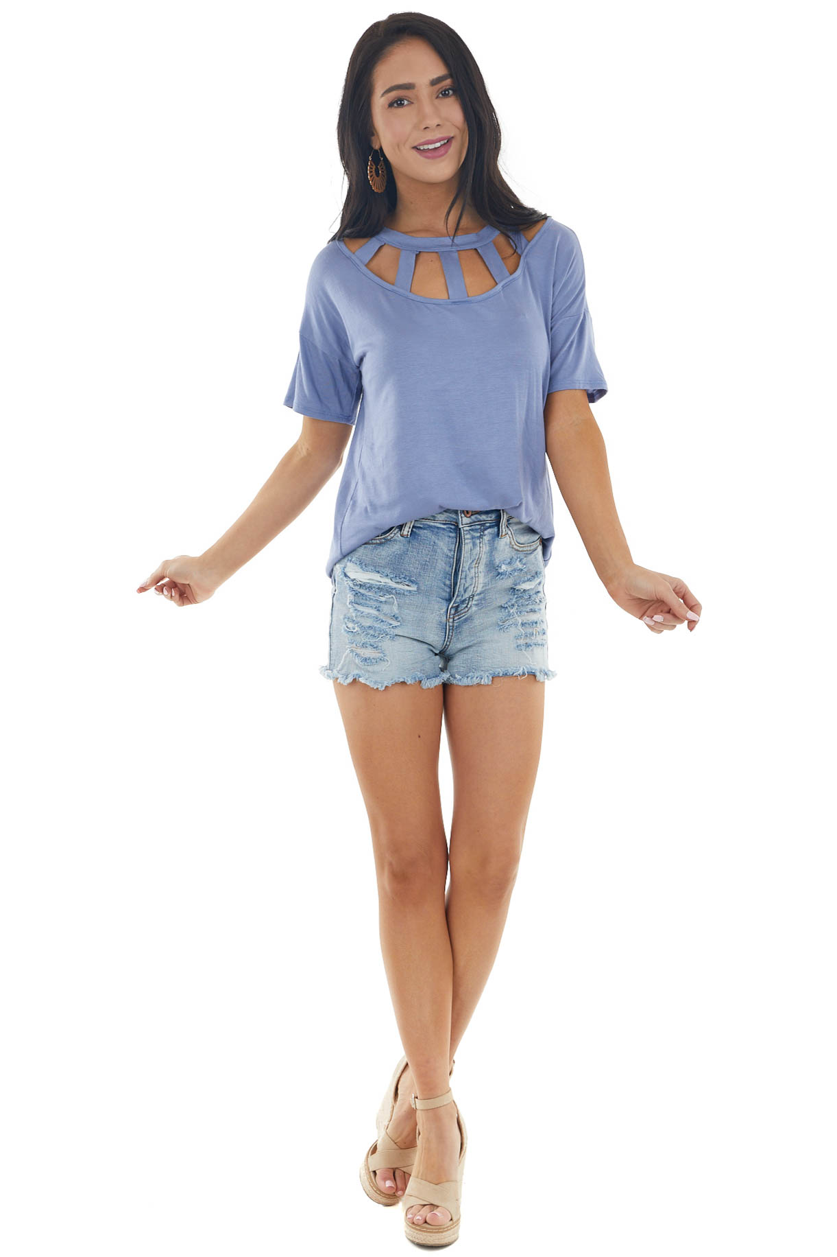 Dusty Blue Short Sleeve Knit Top with Caged Neckline