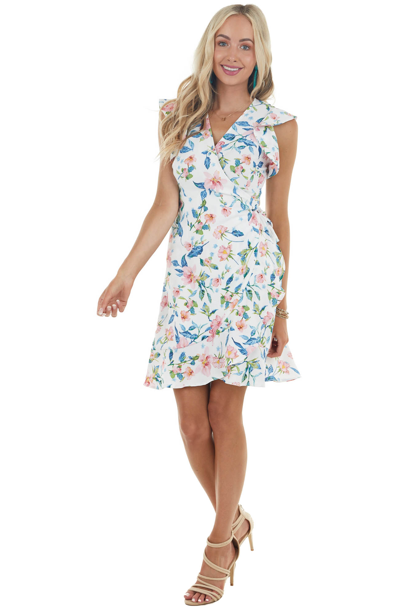 Off White Floral Print Short Wrap Dress with Short Sleeves